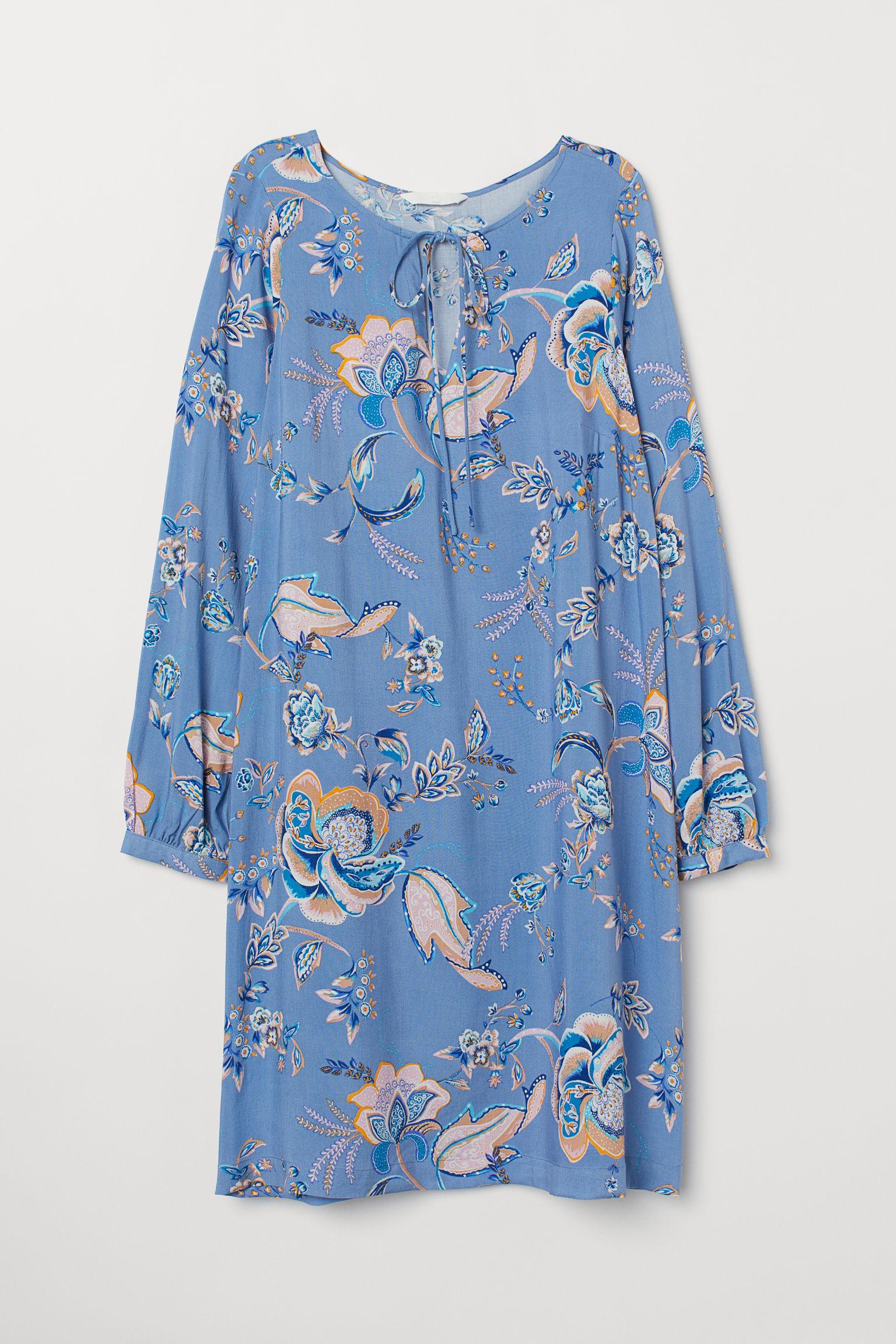 7d022ba50fb H M Mama Patterned Dress in Blue - Lyst