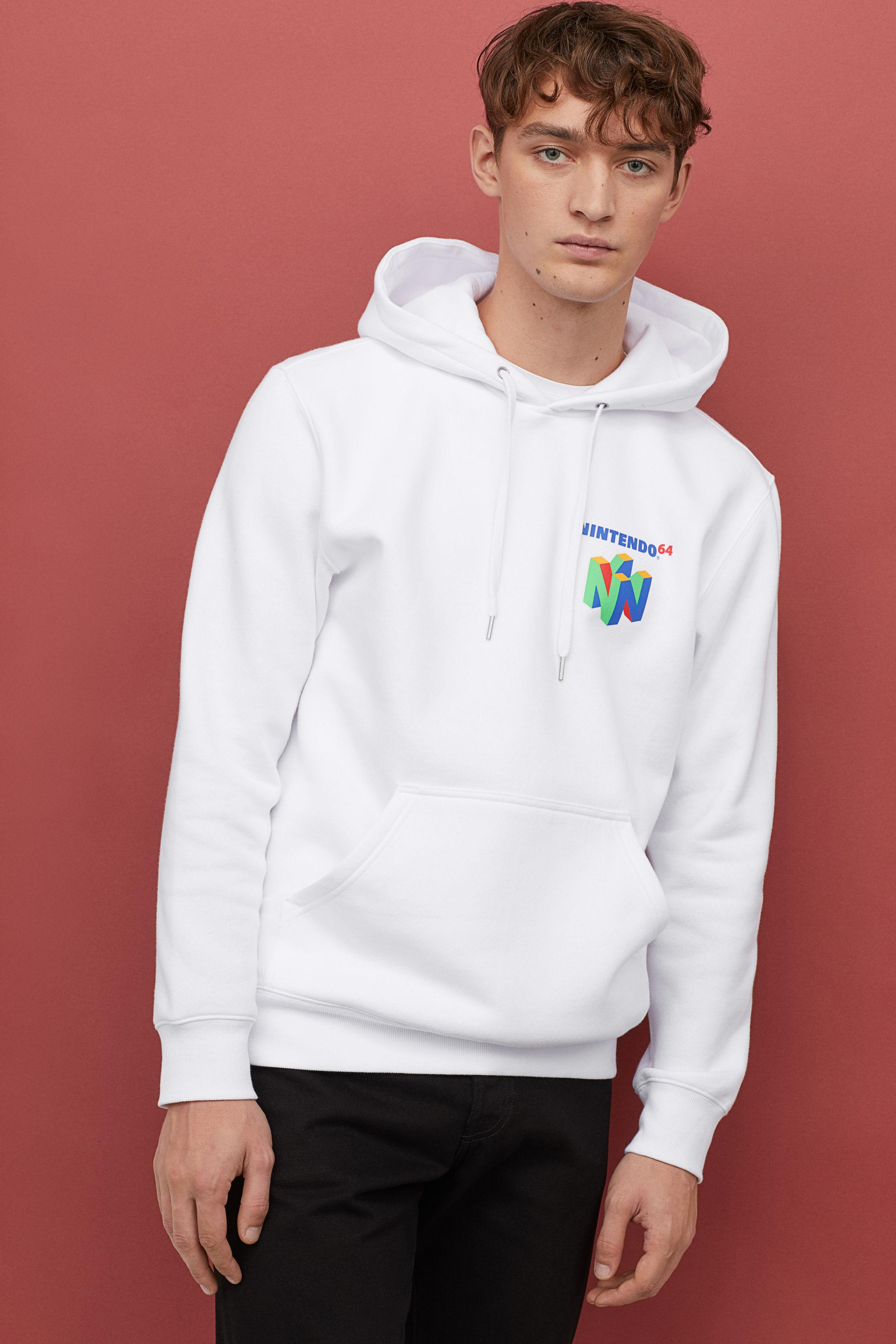 19c0cd651 H&M Hooded Sweatshirt With Motif in White for Men - Lyst