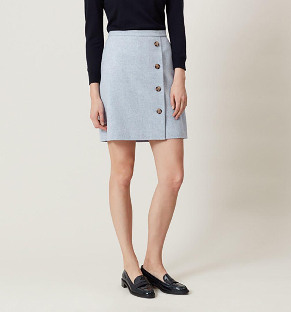 hobbs dacia wrap skirt in blue lyst
