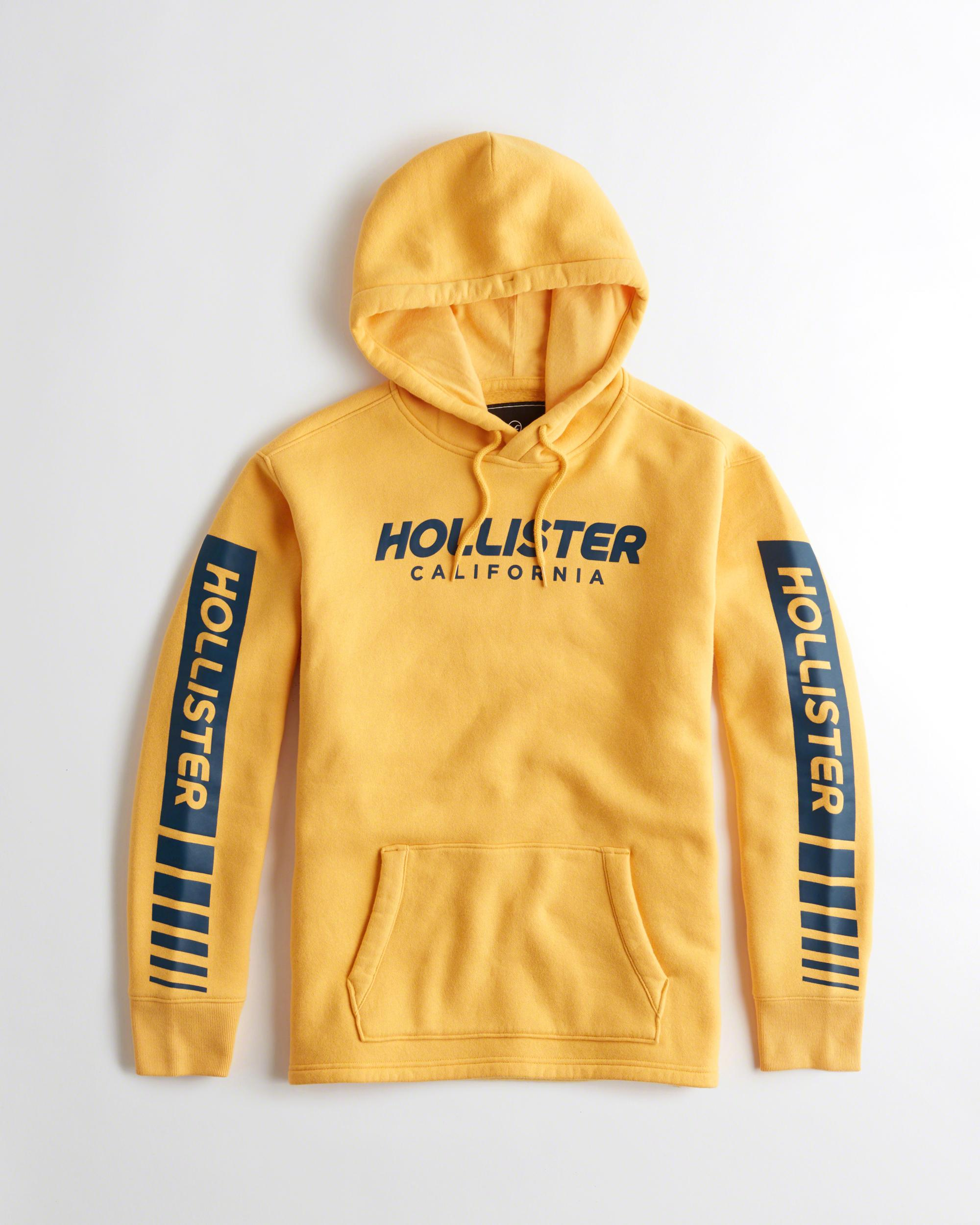 Lyst - Hollister Logo Graphic Hoodie in Yellow for Men