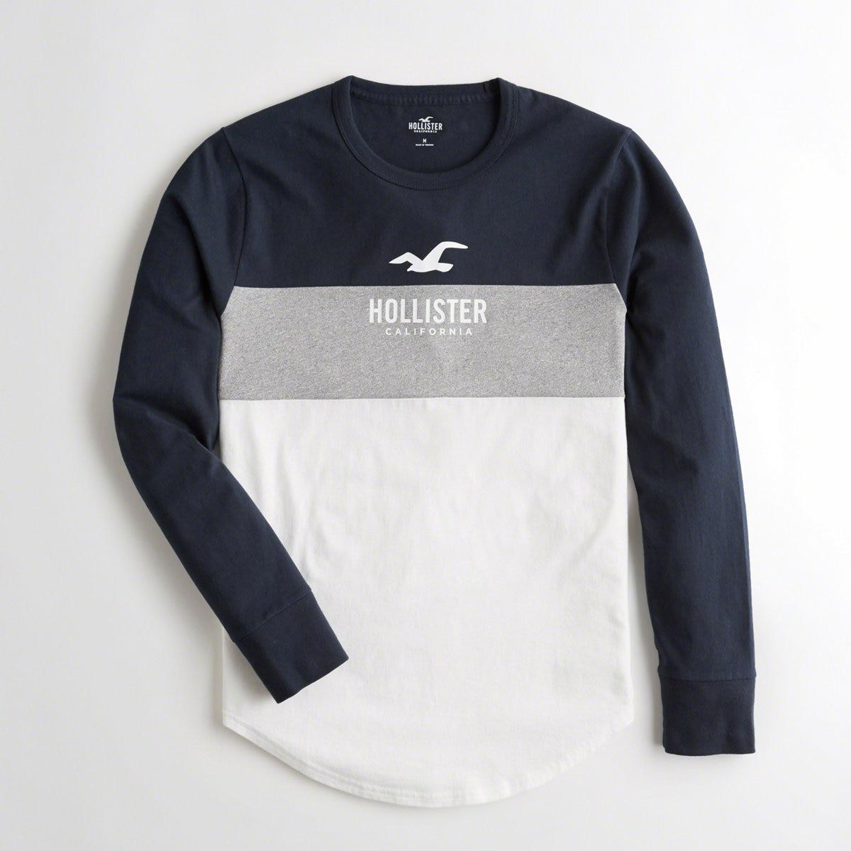 9a01bd2cf Lyst - Hollister Guys Colorblock Logo Graphic Tee From Hollister in ...