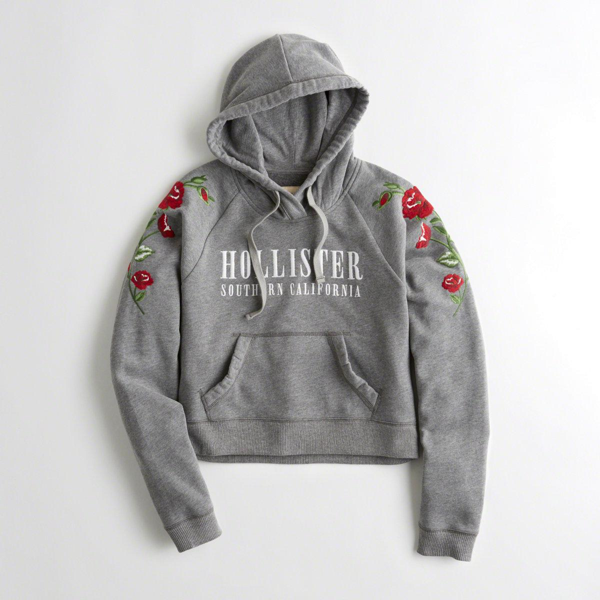 Hollister Embroidered Graphic Boxy Hoodie In Gray