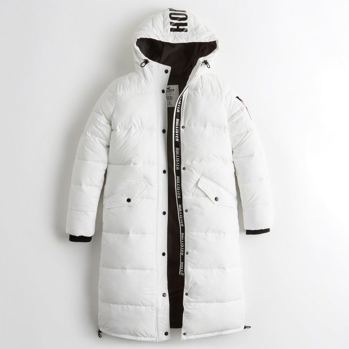 48e972820 Lyst - Hollister Girls Longline Puffer Parka From Hollister in White