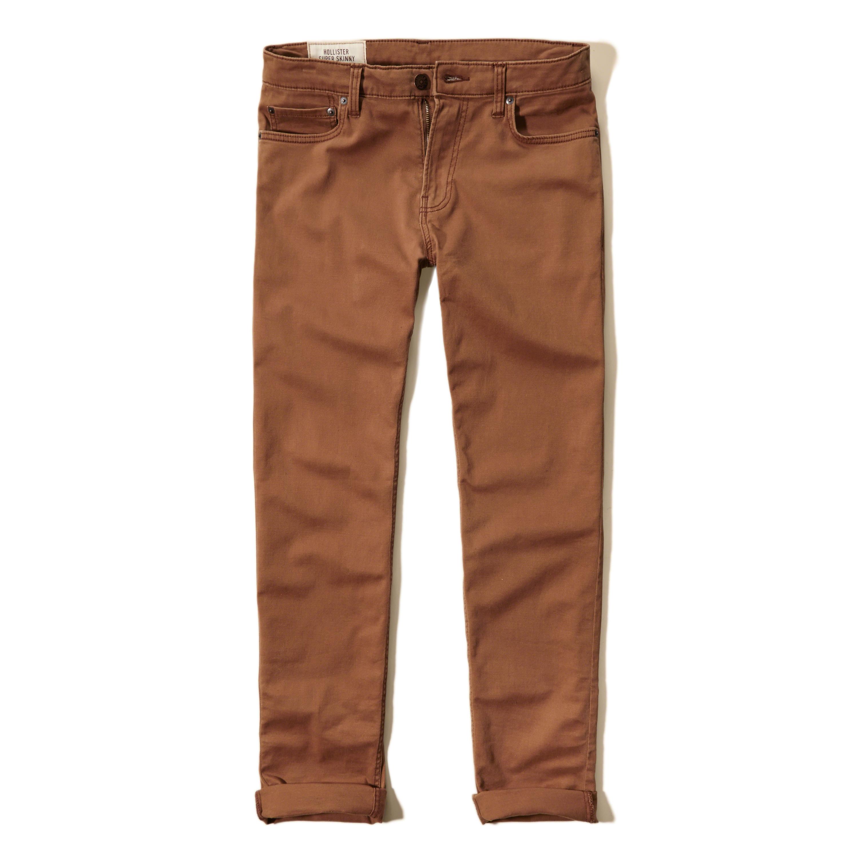 Hollister Super Skinny 5 Pocket Zipper Fly Pants in Brown ...