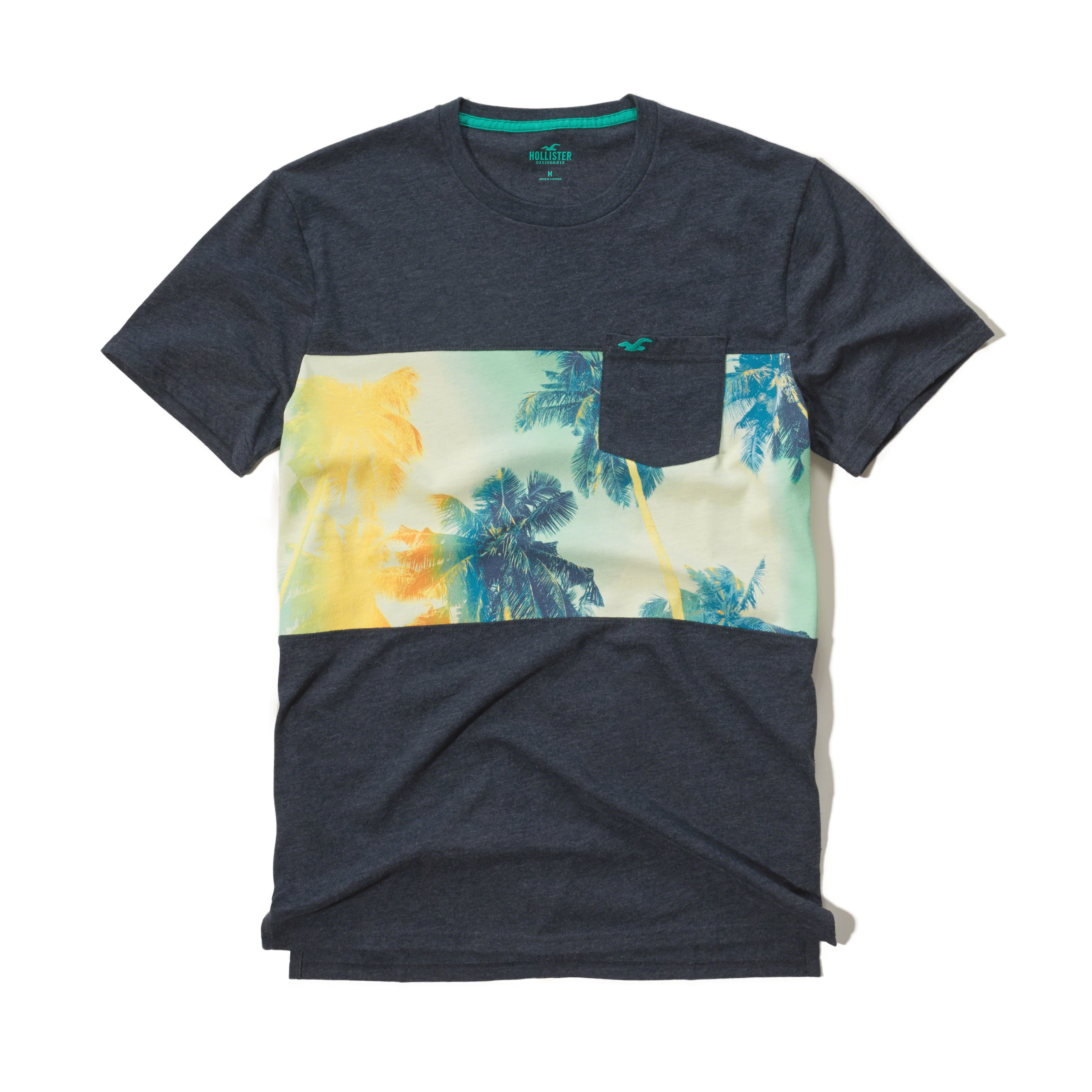 Lyst hollister beach print pocket t shirt in blue for men for Beach t shirts for men