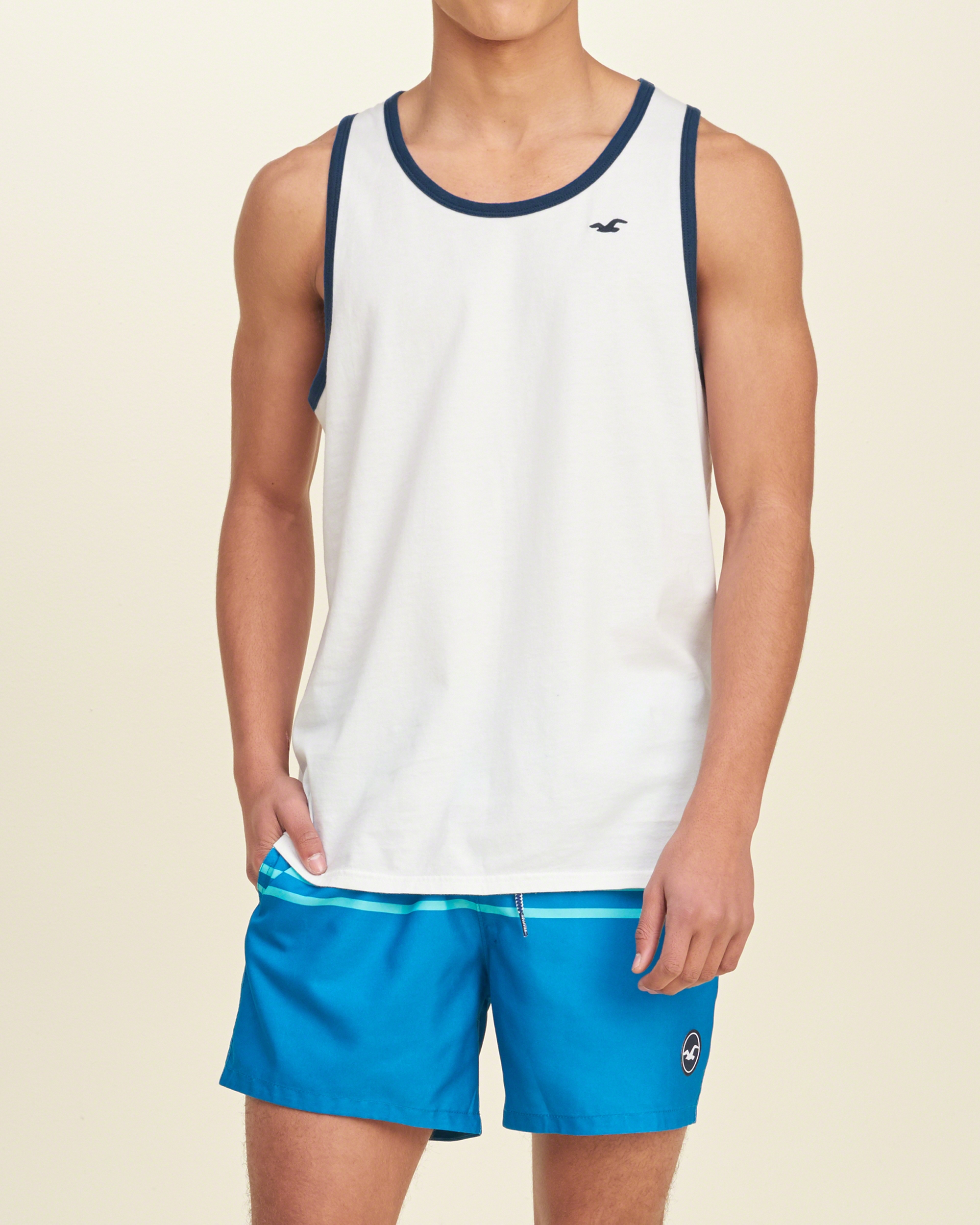 Lyst hollister must have contrast trim tank in white for men for Must have dress shirts