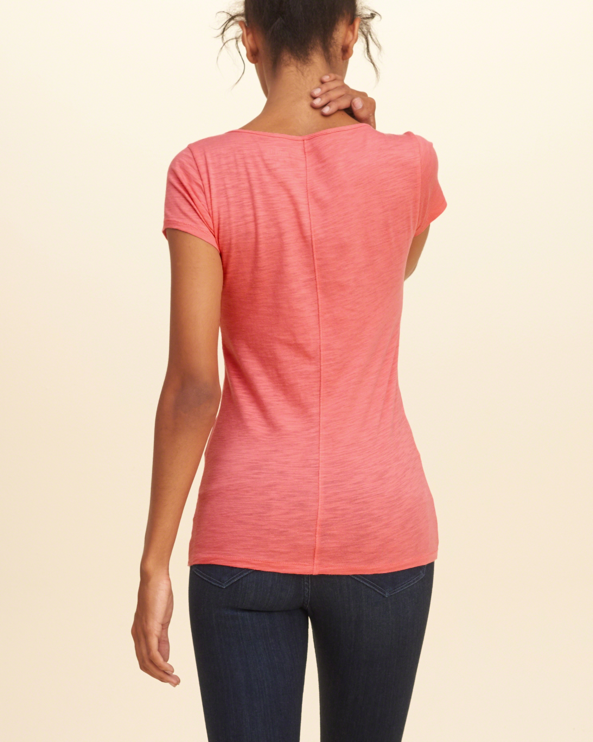 Hollister must have short sleeve v neck t shirt in pink lyst for Must have dress shirts