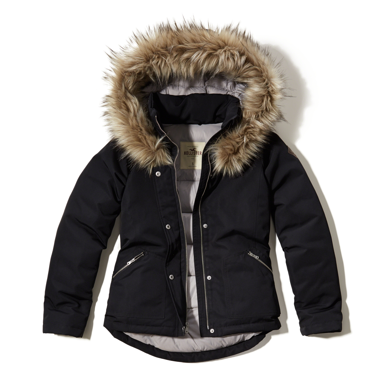 hollister down anorak jacket in black lyst