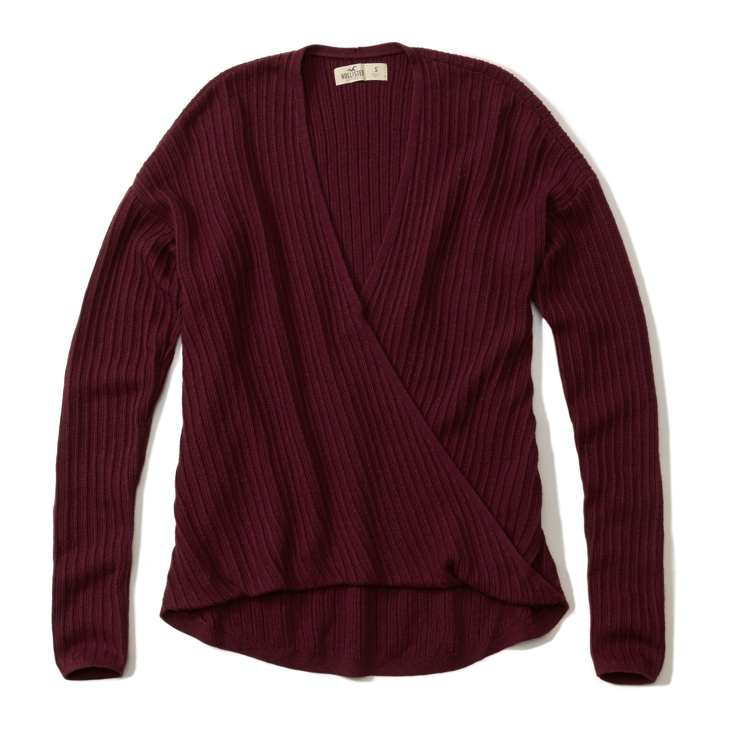 Hollister Oberbekleidung Returns Exchanges Hollister Pullover Hollister Hoodies Hollister Jeans: Hollister Wrap Front Ribbed Sweater In Purple