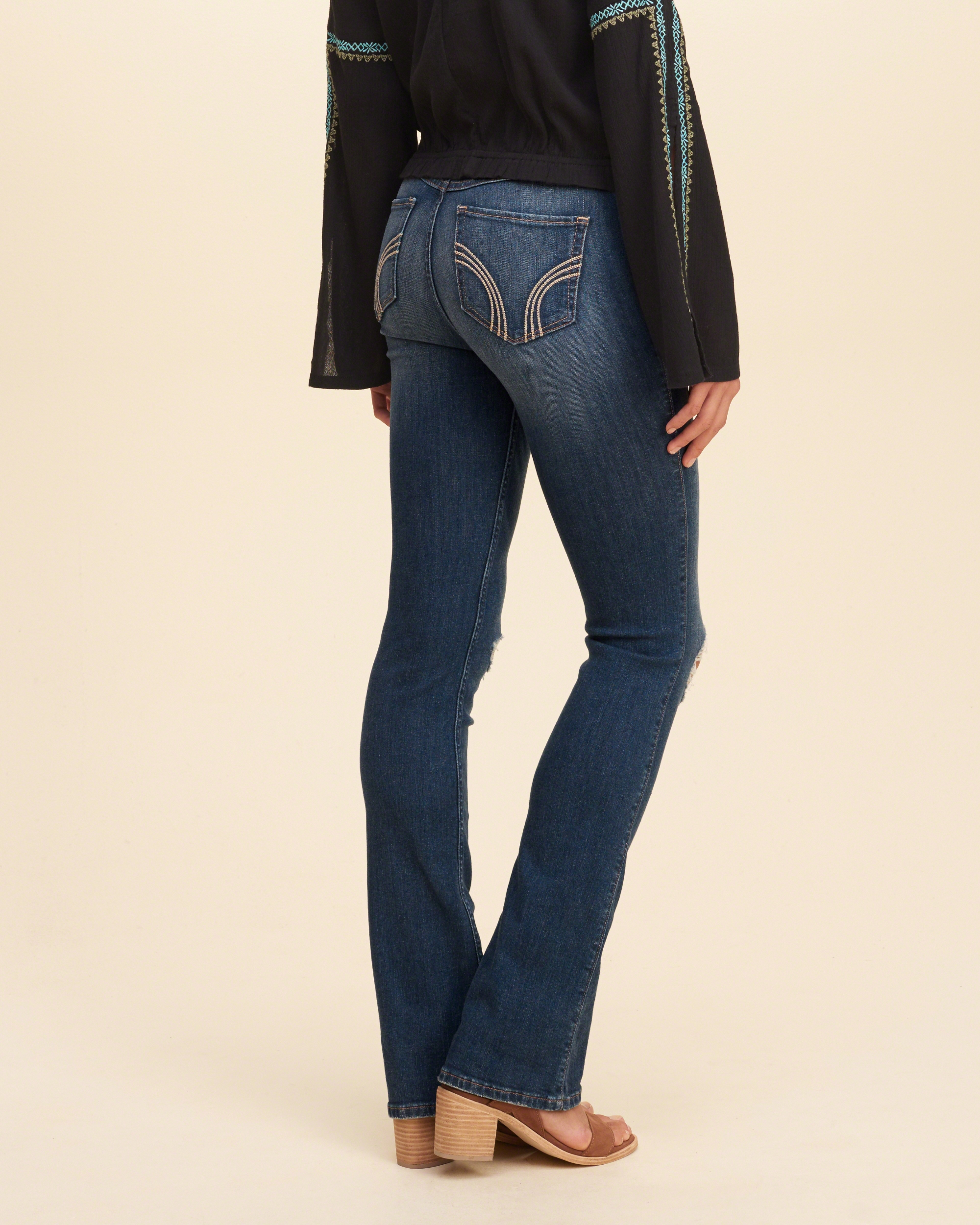 Lyst Hollister High Rise Boot Jeans In Blue
