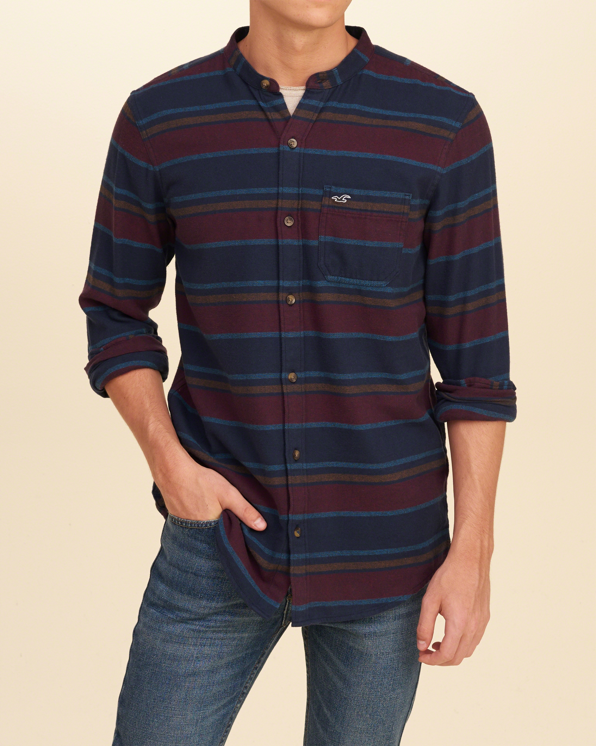 Lyst Hollister Banded Collar Flannel Shirt In Blue For Men