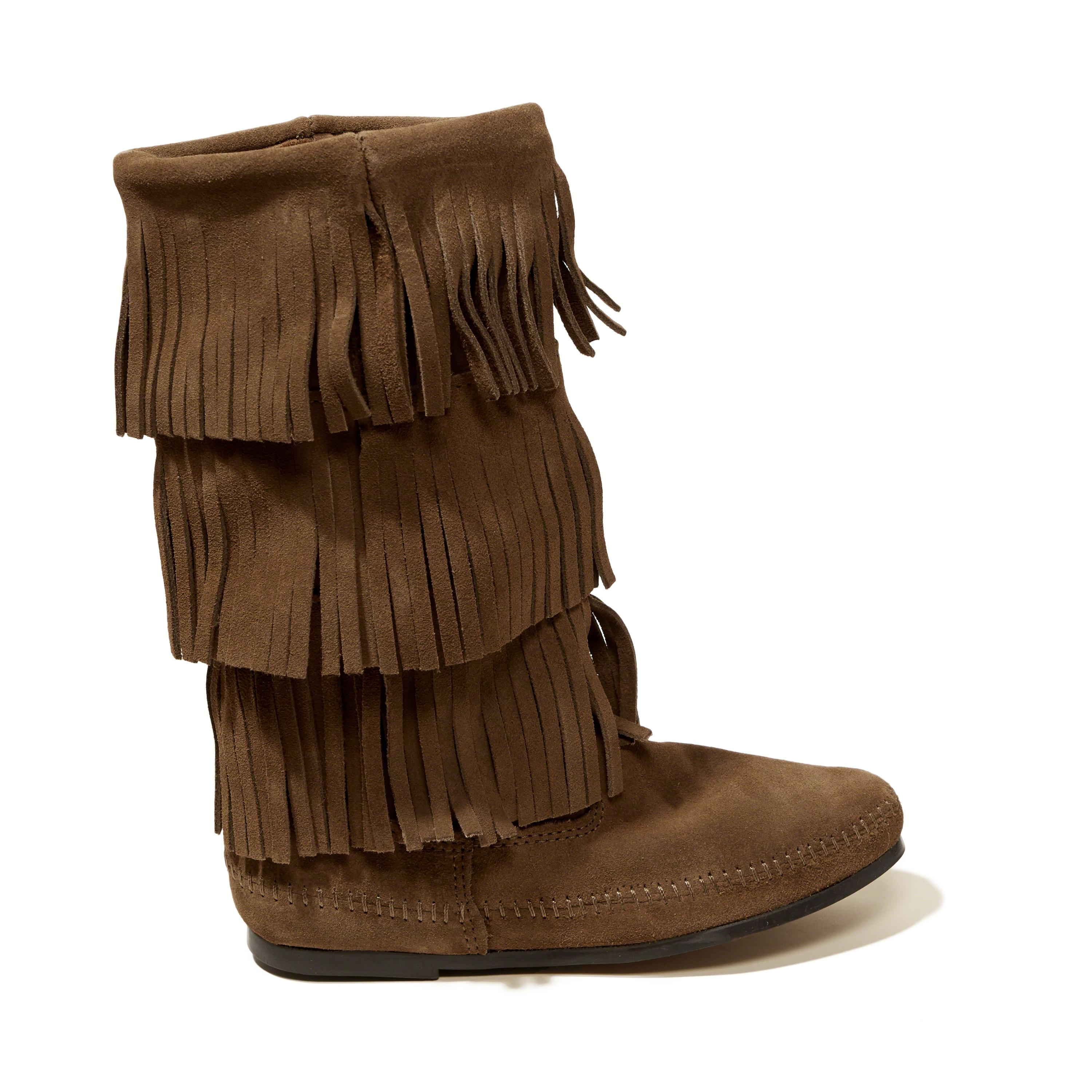 hollister minnetonka 3 layer fringe boot in brown lyst