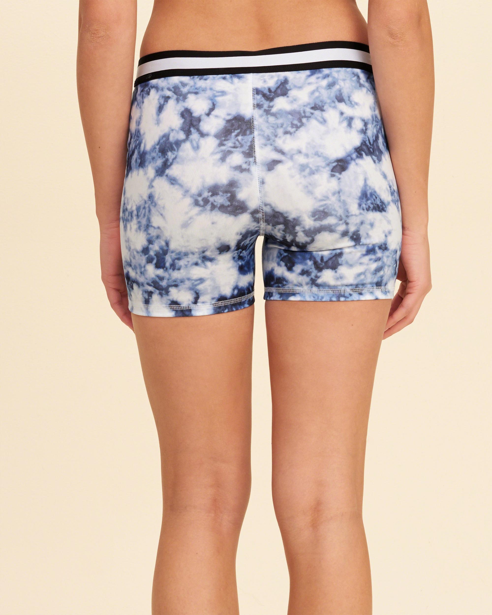 Hollister Stripe Elastic Yoga Shorts In Blue