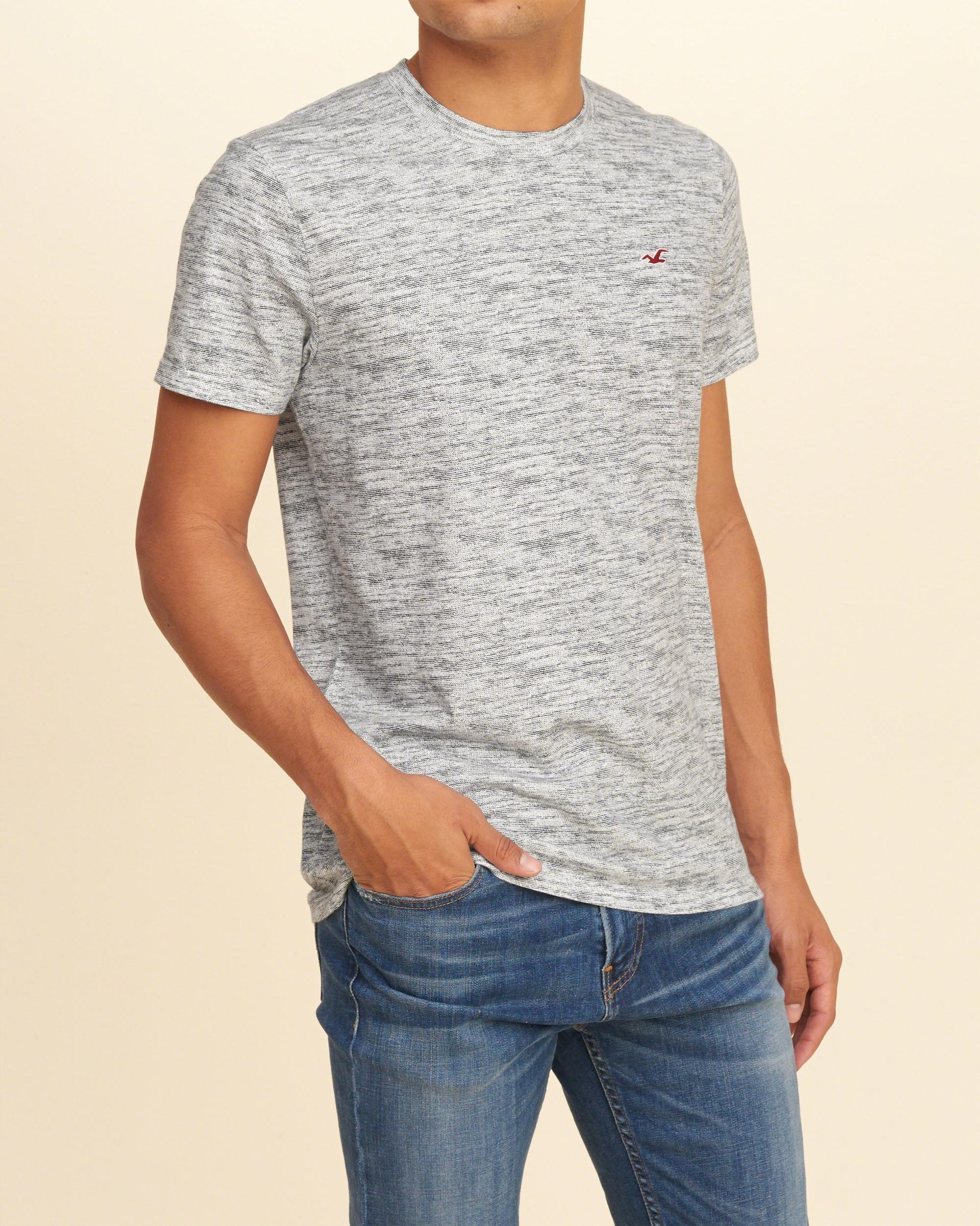 Lyst hollister must have textured crew t shirt in gray for Must have dress shirts