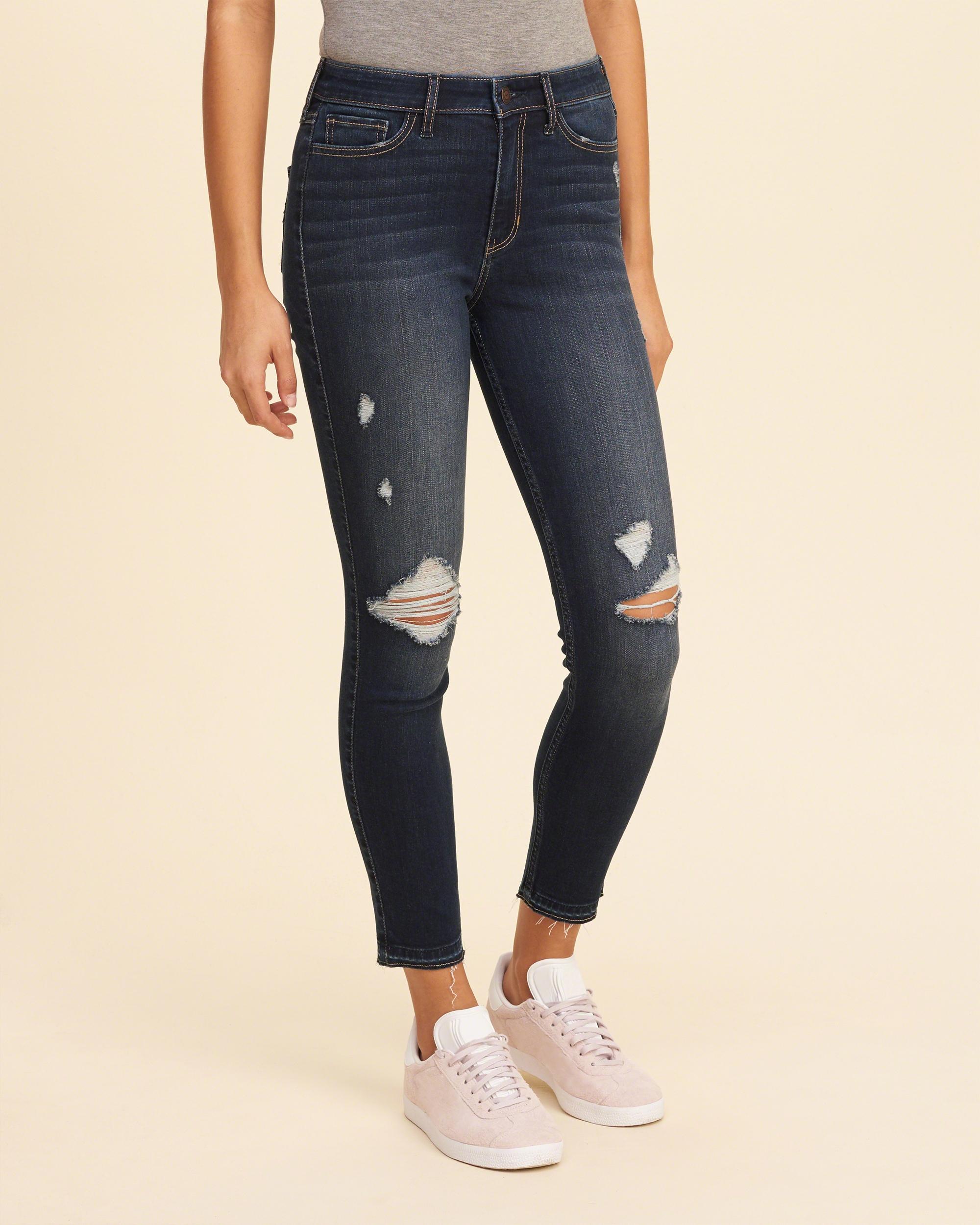 Lyst - Hollister High-rise Crop Super Skinny Jeans in Blue