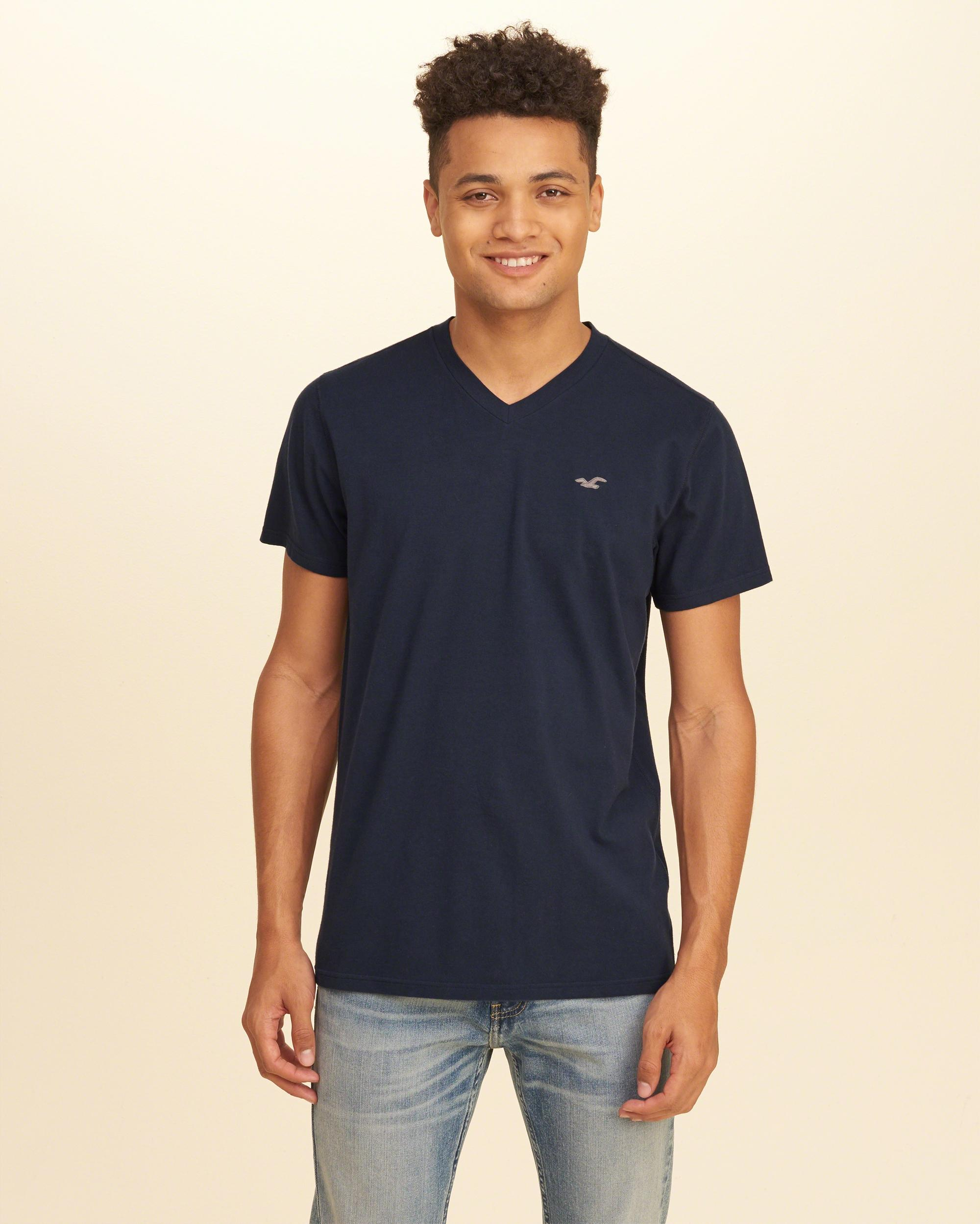 Hollister must have stretch v neck t shirt in blue for men for Must have dress shirts
