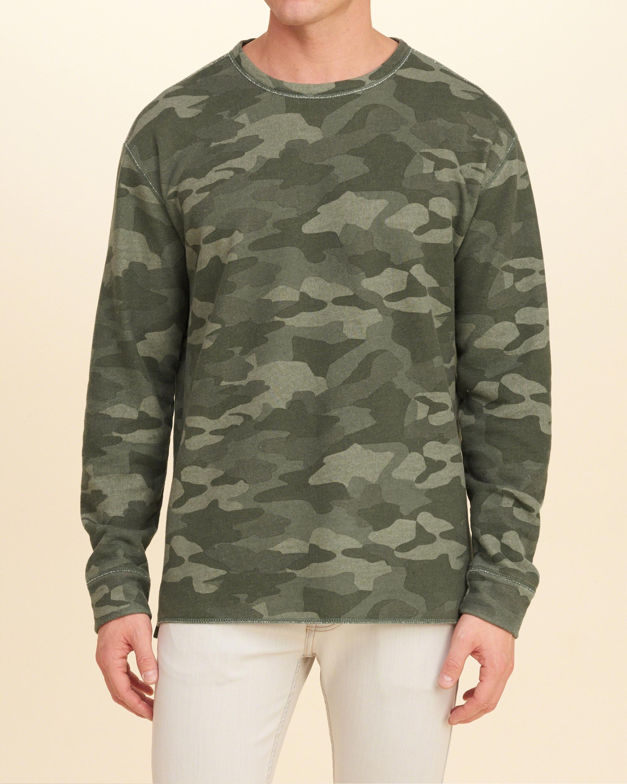 Lyst Hollister Camo Crew Sweatshirt In Green For Men