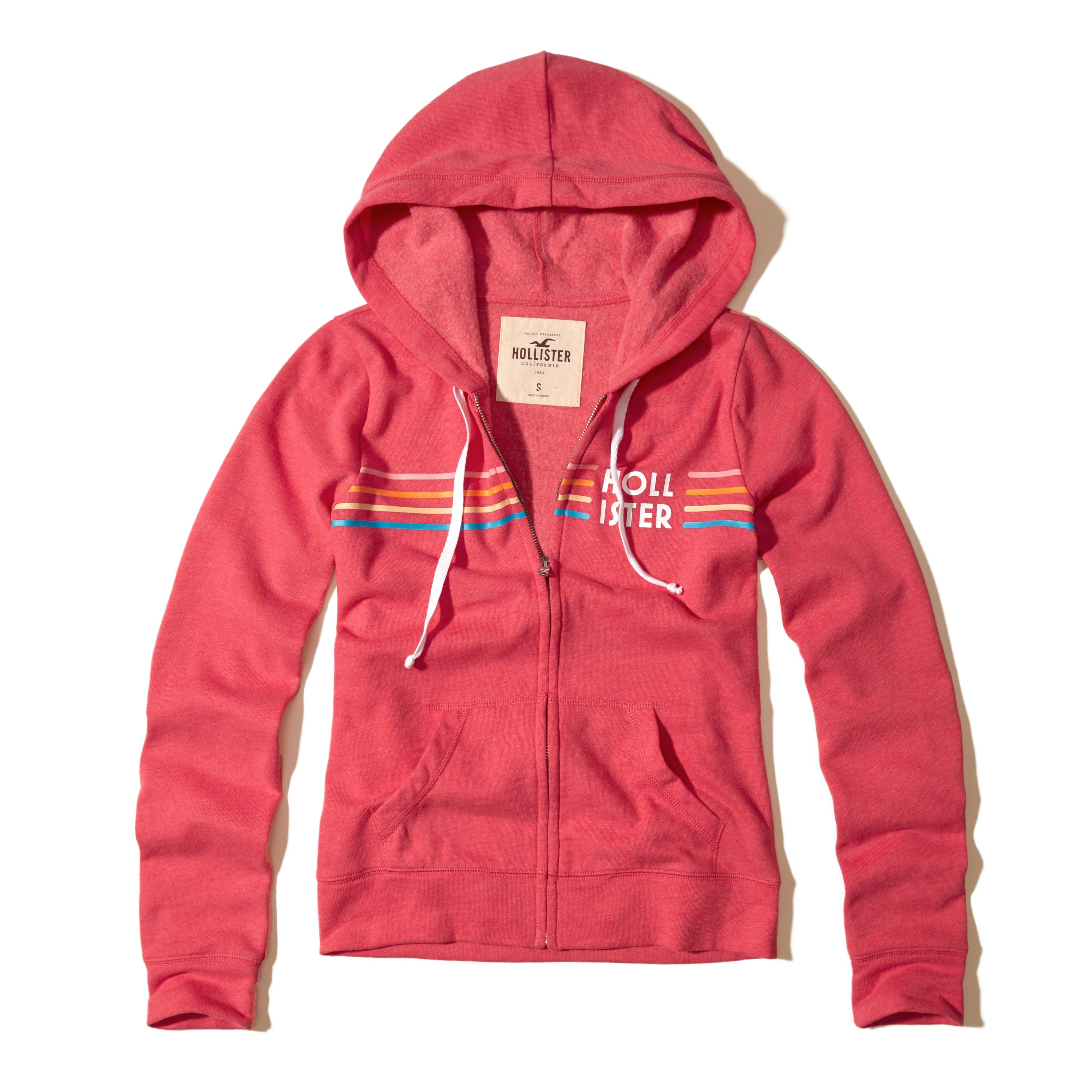Lyst Hollister Printed Logo Graphic Hoodie In Red