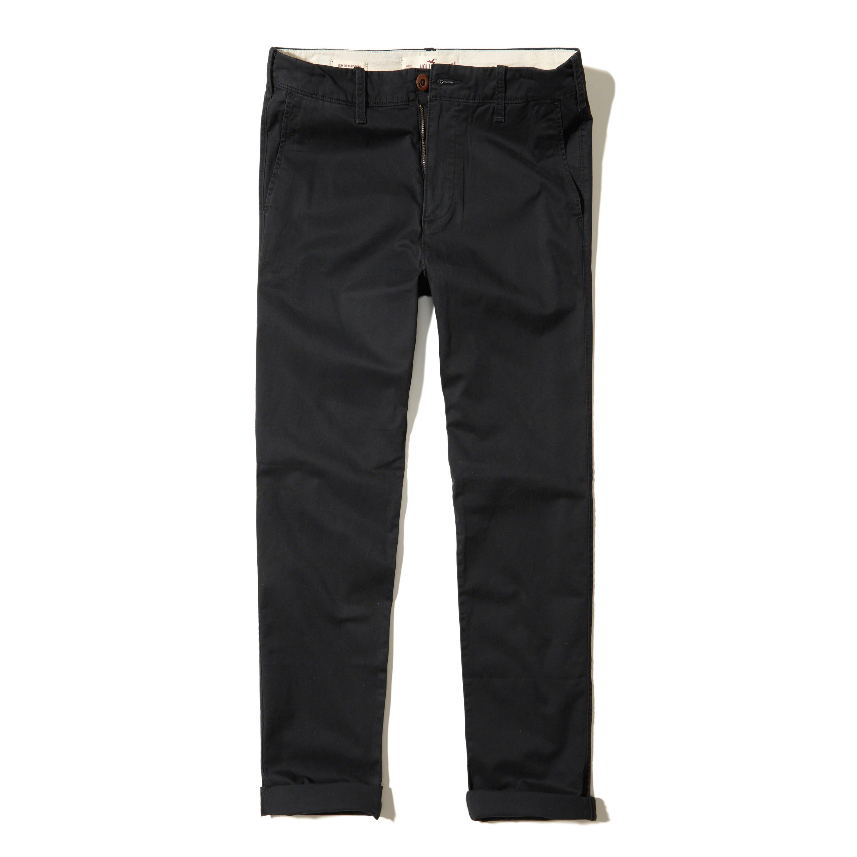 Hollister Slim Straight Chino Pants in Black for Men | Lyst