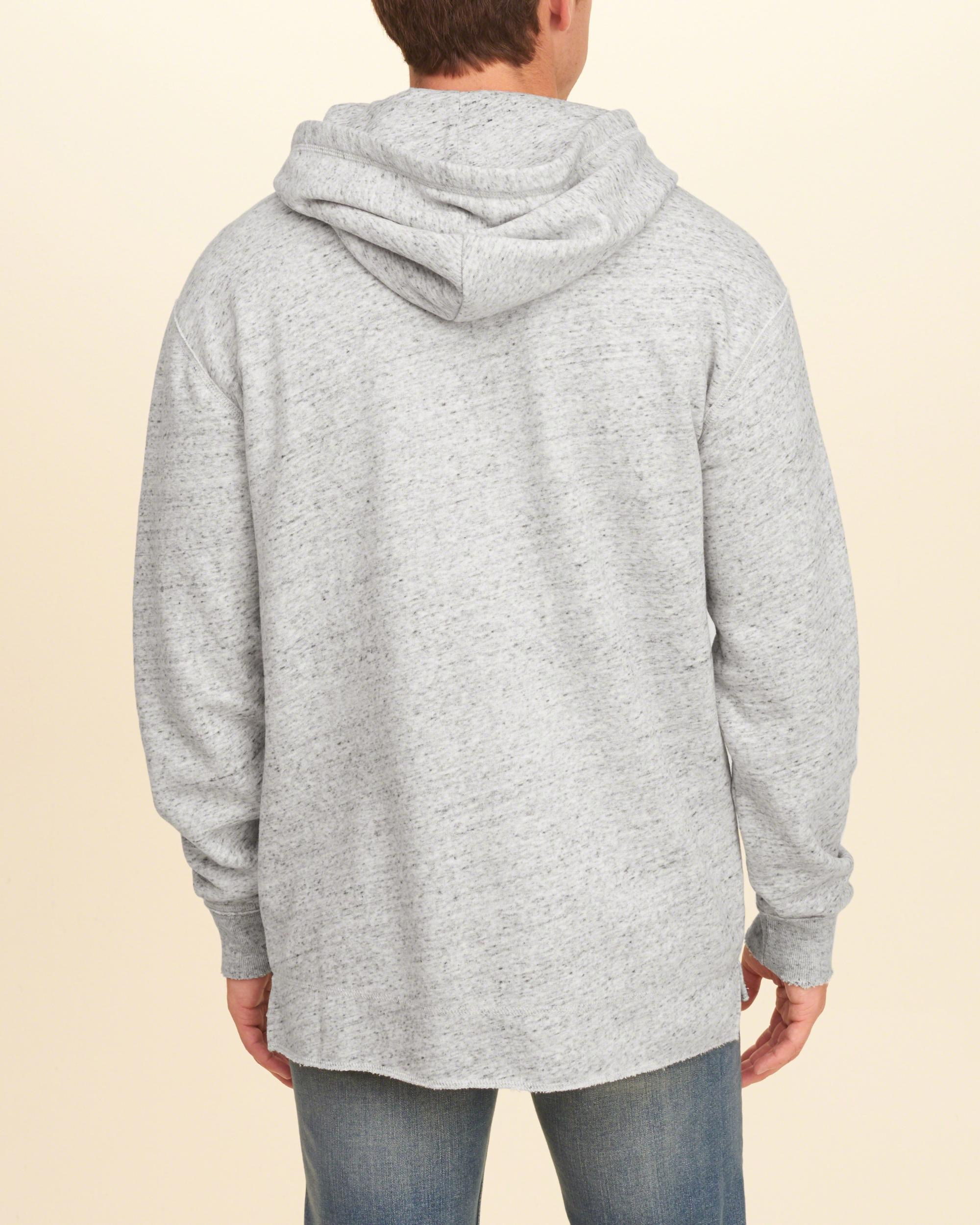 Lyst - Hollister Textured Ripped Hoodie in Gray for Men