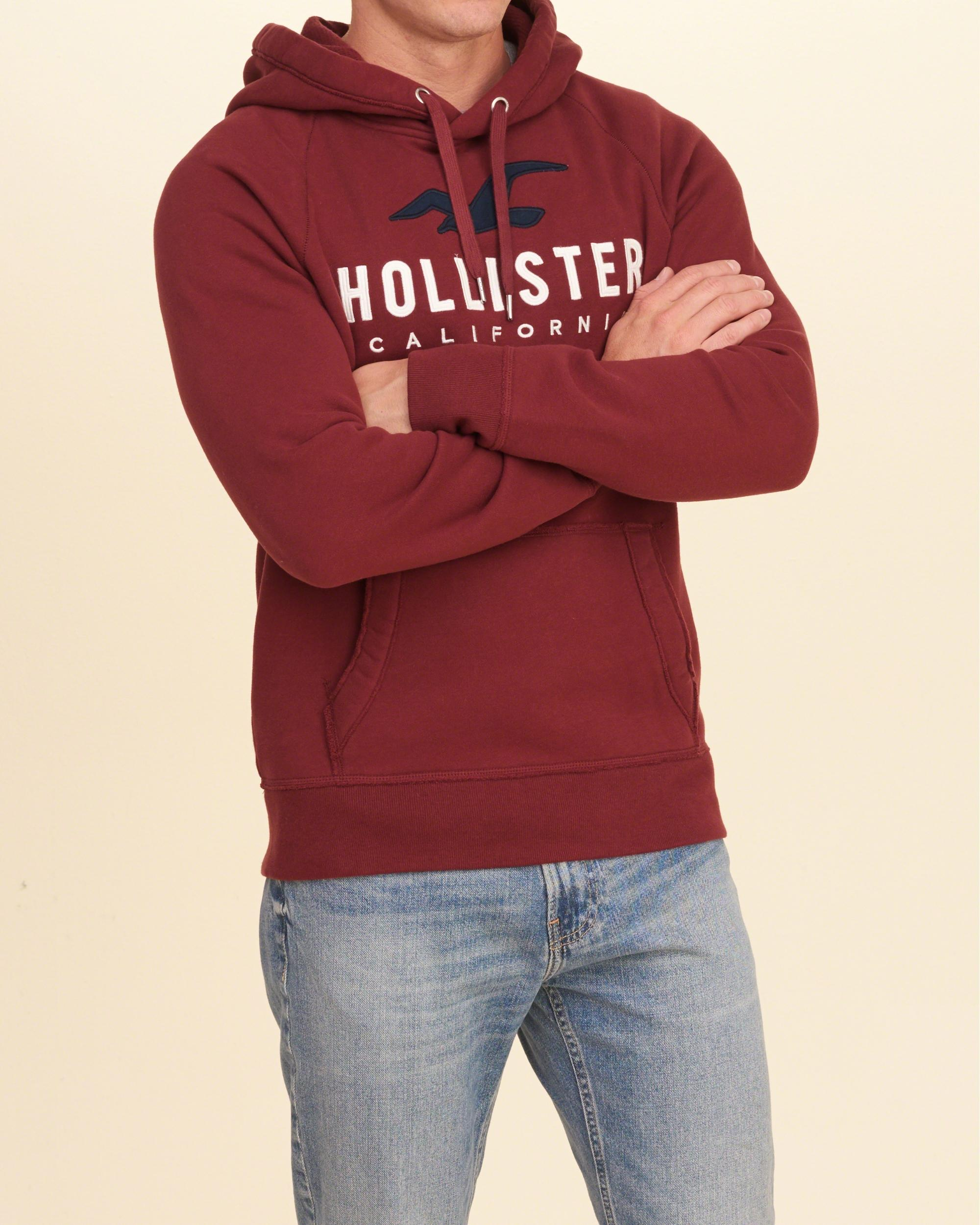 Hollister Logo Graphic Hoodie In Red For Men