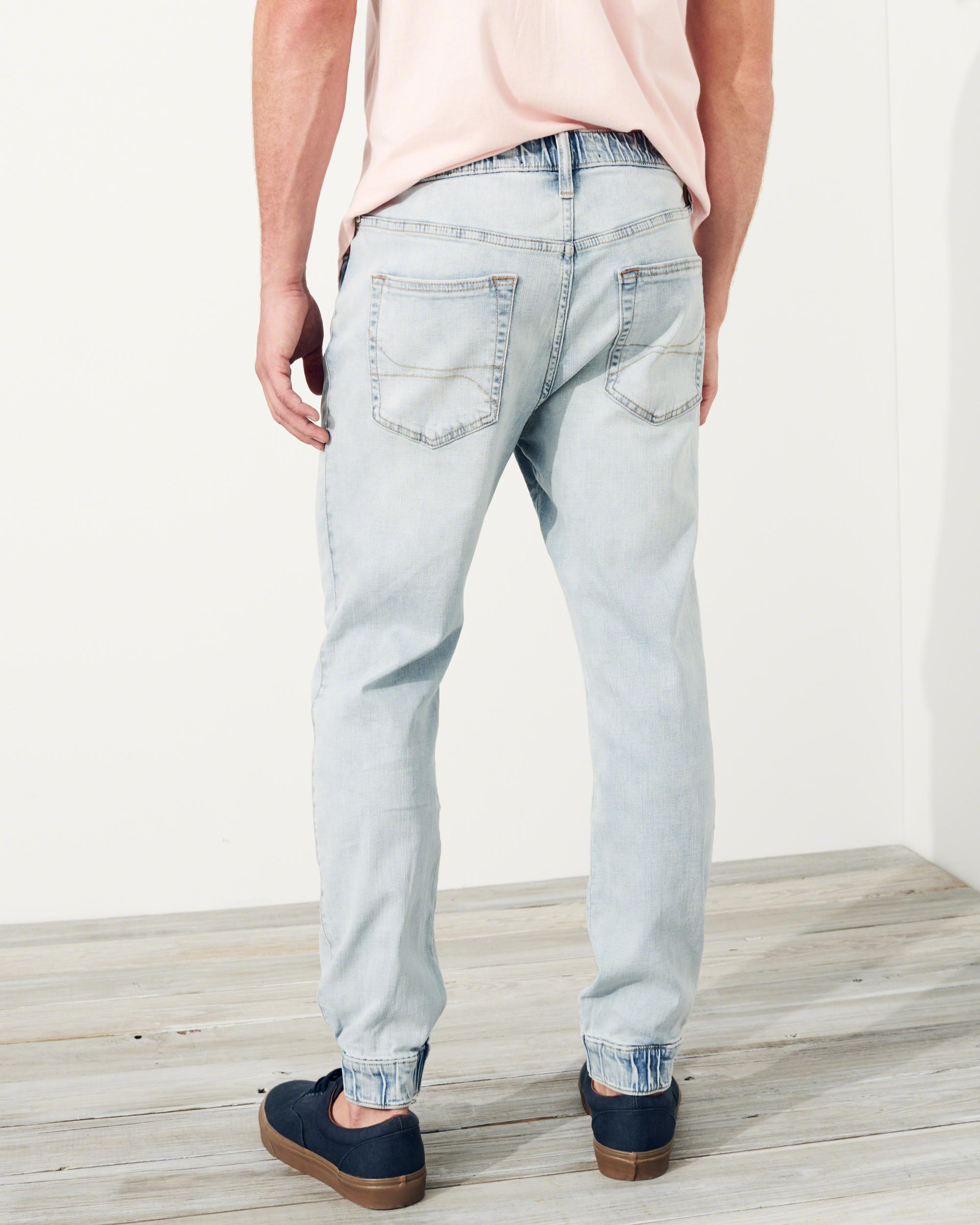 Lyst Hollister Advanced Stretch Denim Jogger Pants In Blue For Men Joger Riped Jeans Gallery