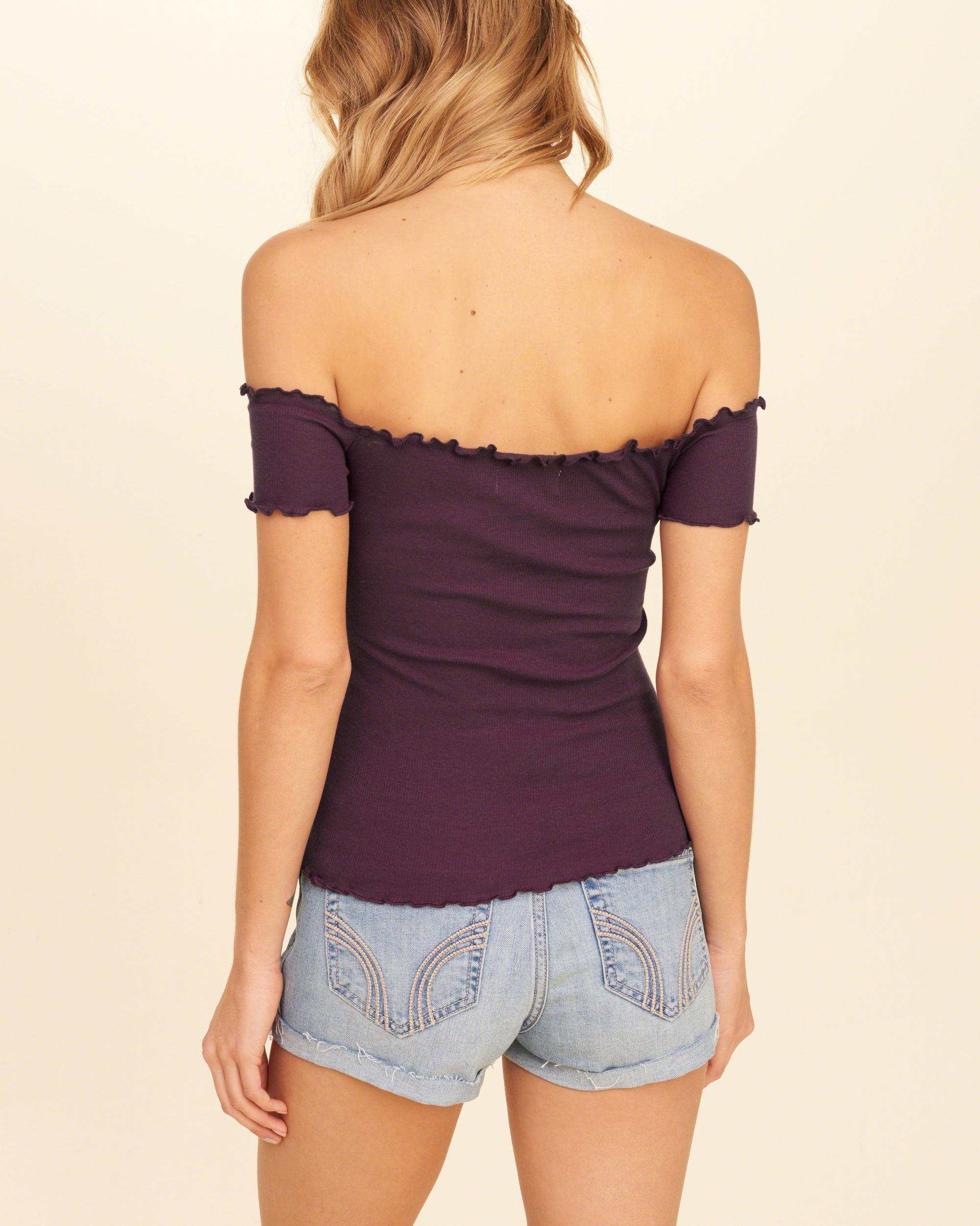 9c889d1d2e5c0 Lyst - Hollister Ribbed Slim Off-the-shoulder Top in Purple