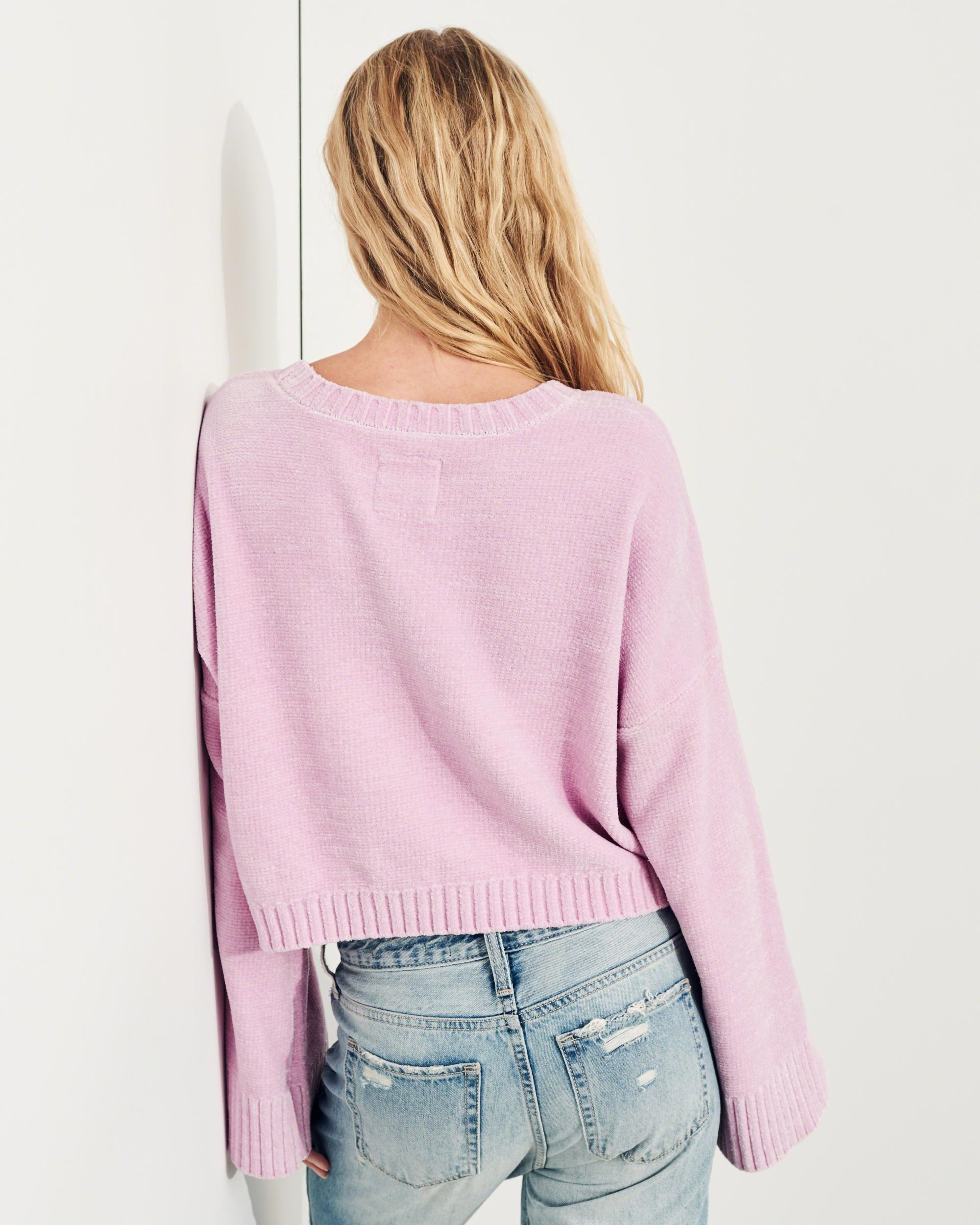 Hollister Oberbekleidung Returns Exchanges Hollister Pullover Hollister Hoodies Hollister Jeans: Hollister Velvet Bell-sleeve Chenille Crop Sweater In