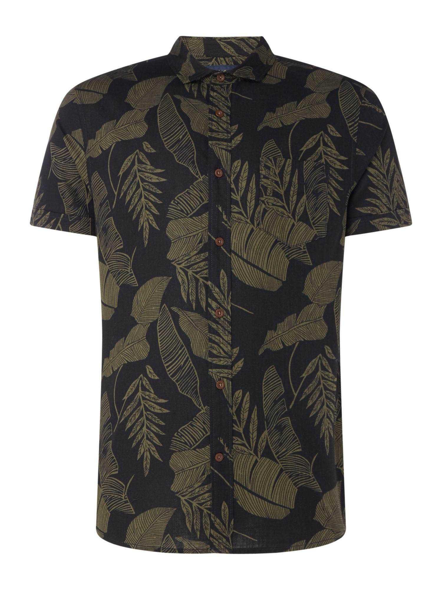 Lyst criminal men 39 s jungle leaf print short sleeve shirt for Housse of fraser