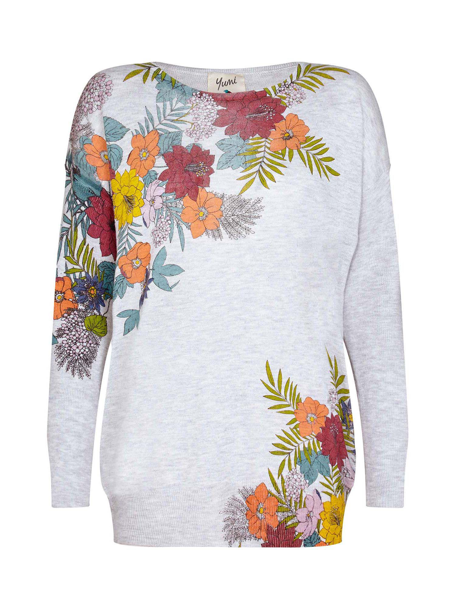 yumi jungle botanical placement jumper in gray lyst