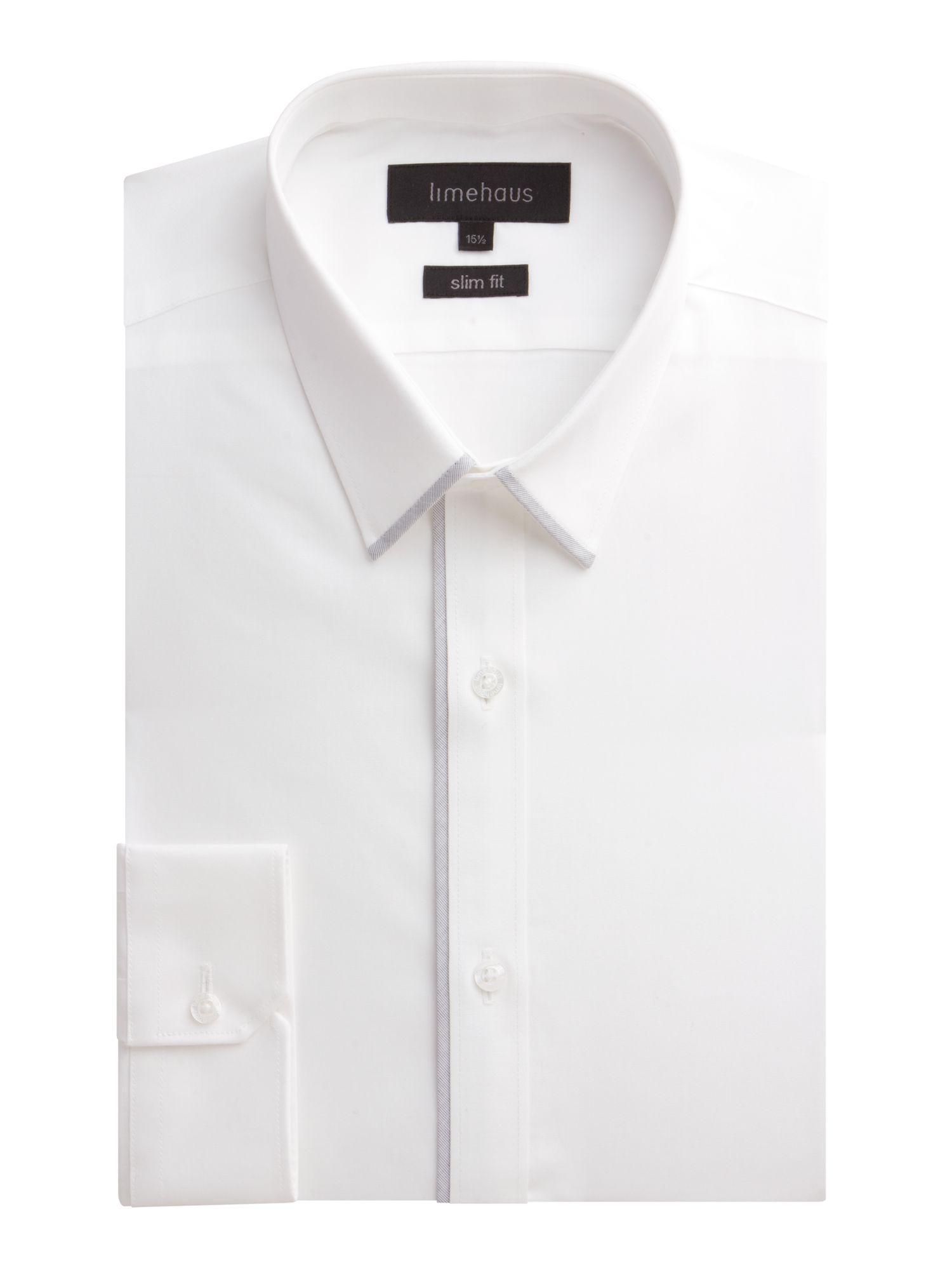 d524def6464251 Limehaus Plain Slim Fit Poplin Formal Shirt in White for Men - Save ...