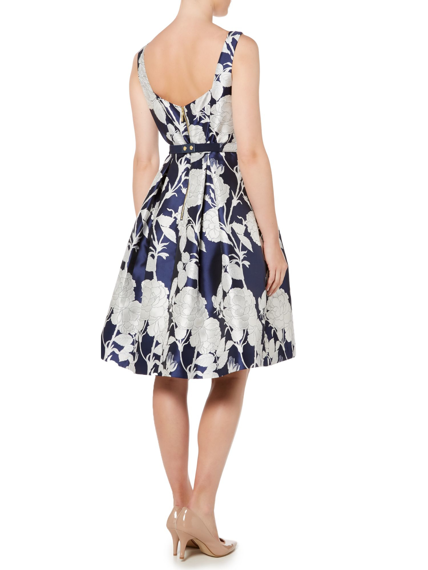 Lyst Eliza J Floral Print Fit And Flare With Beaded