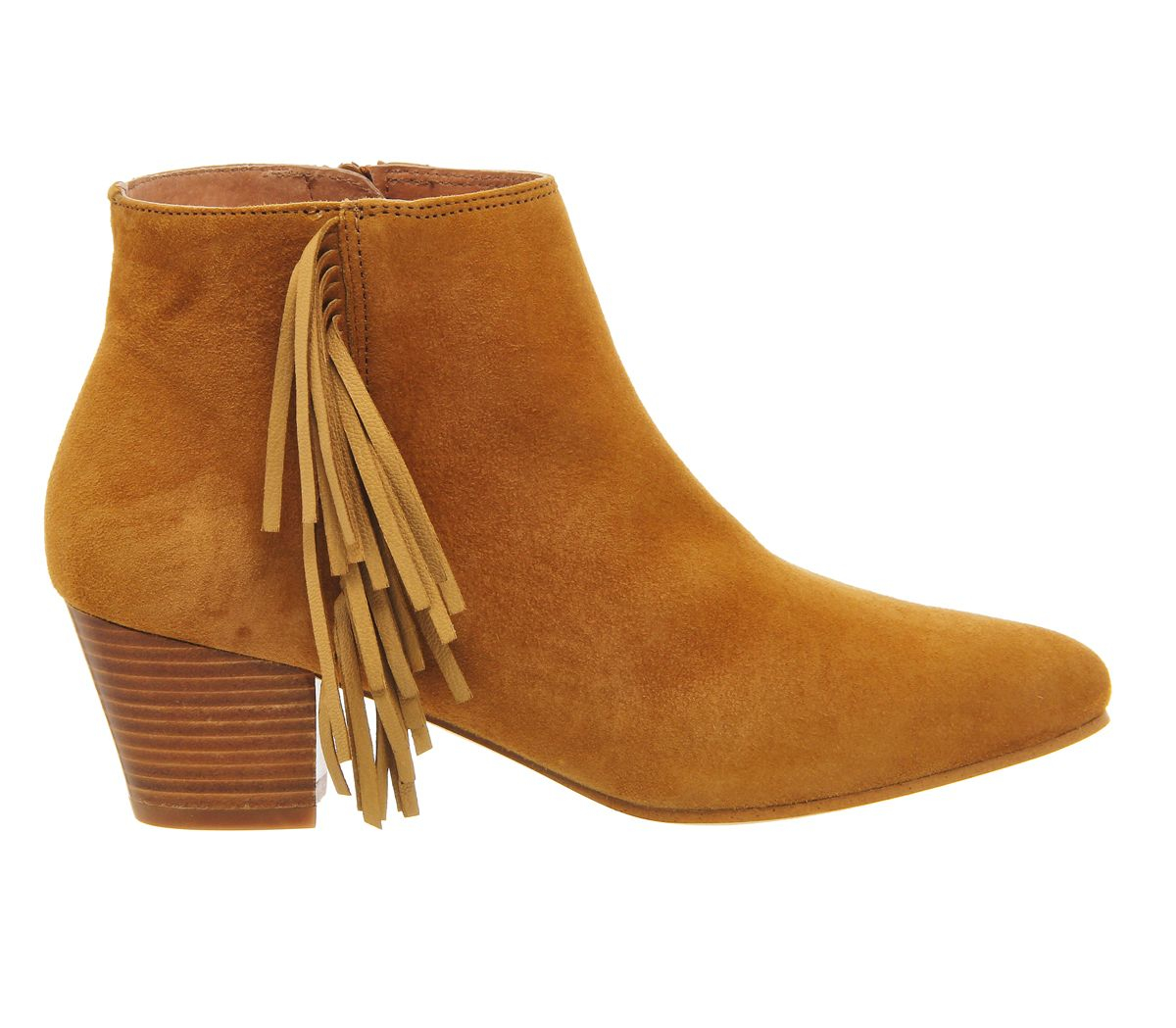 office idaho fringe ankle boots in brown lyst