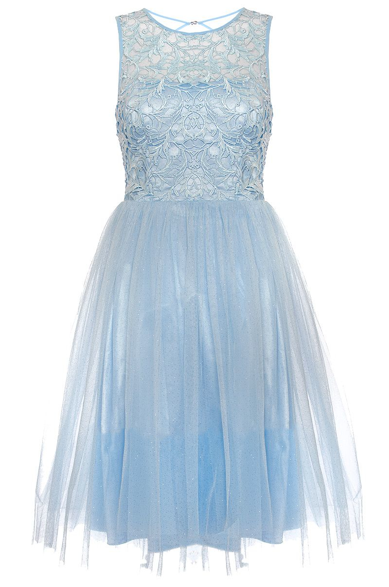 Quiz Blue Glitter Mesh Flower Prom Dress in Blue - Lyst