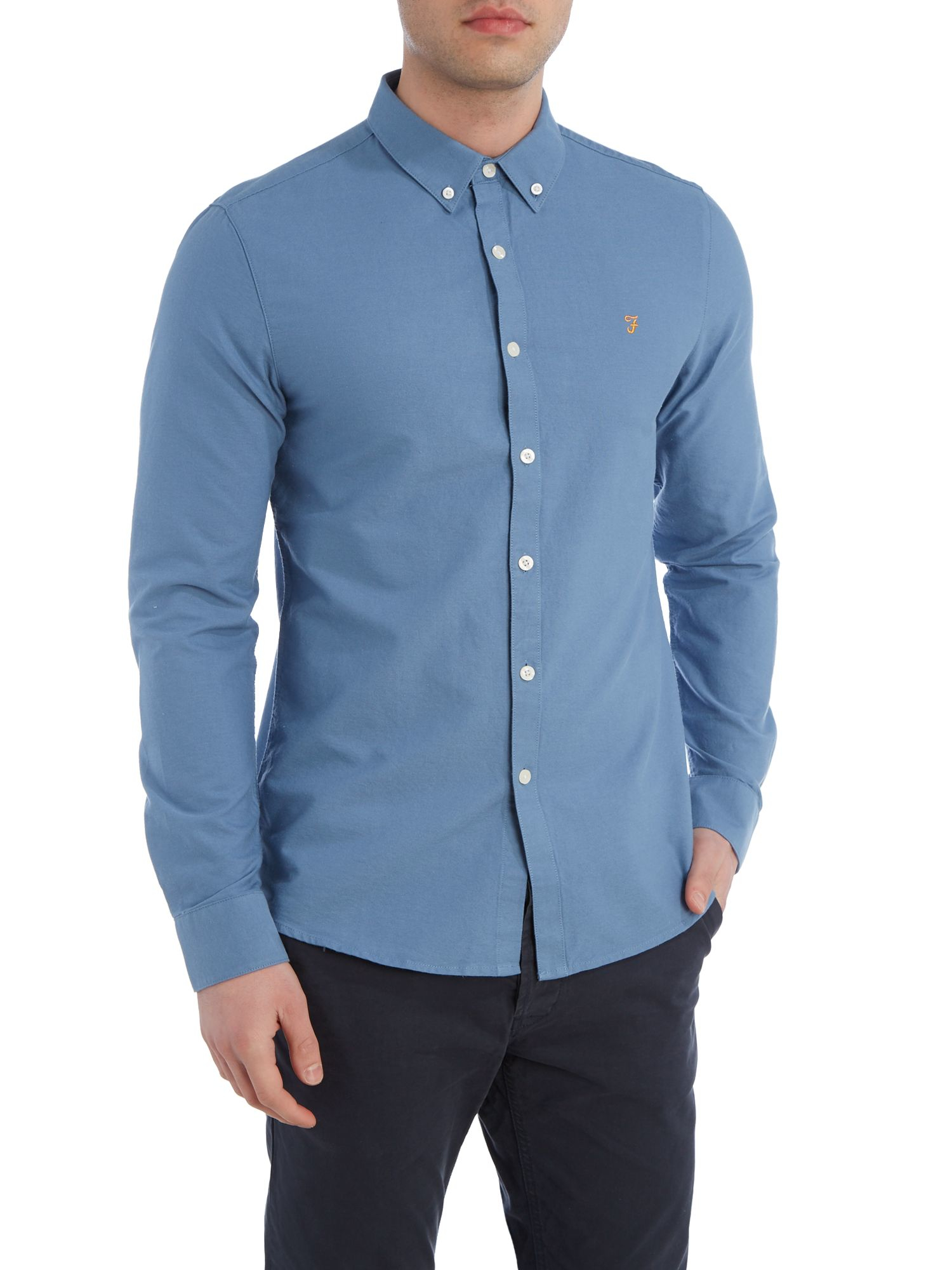 Farah Brewer Slim Fit Button Down Oxford Shirt In Blue For