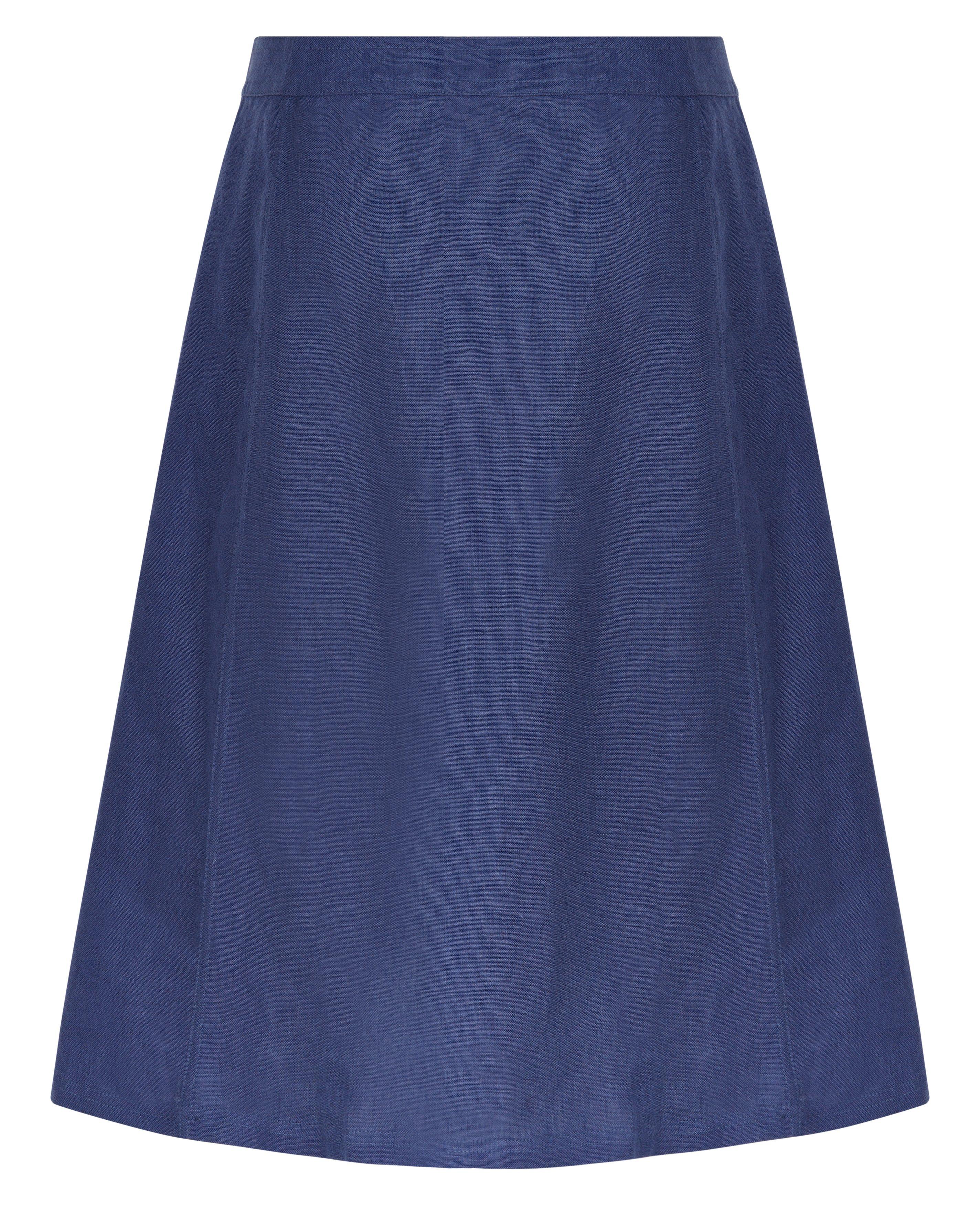 jaeger linen a line skirt in blue lyst