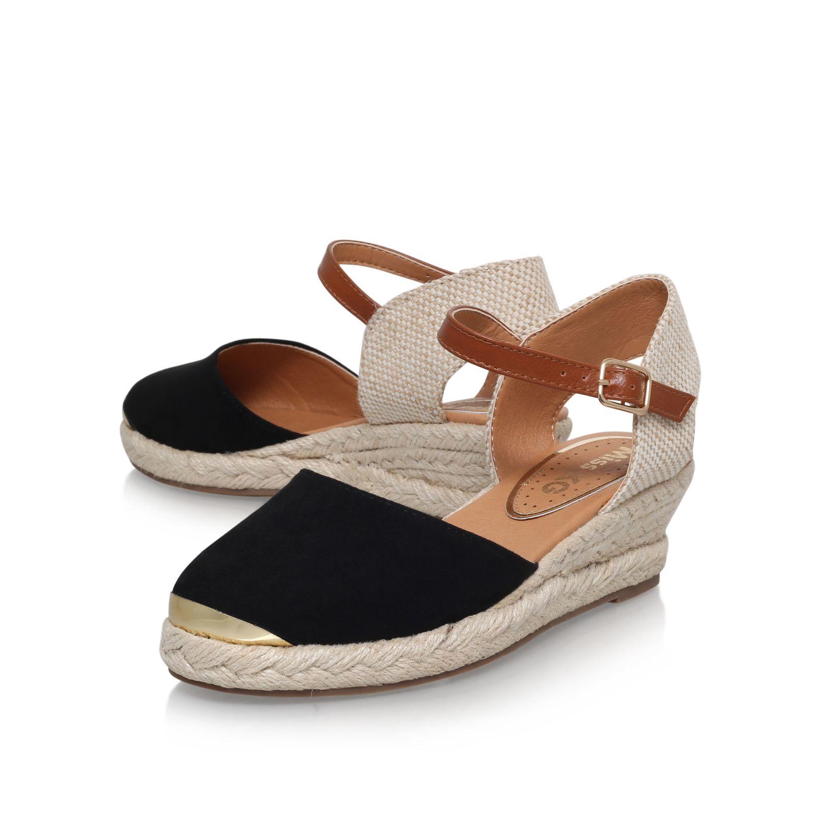 miss kg lea mid wedge heel sandals in black lyst