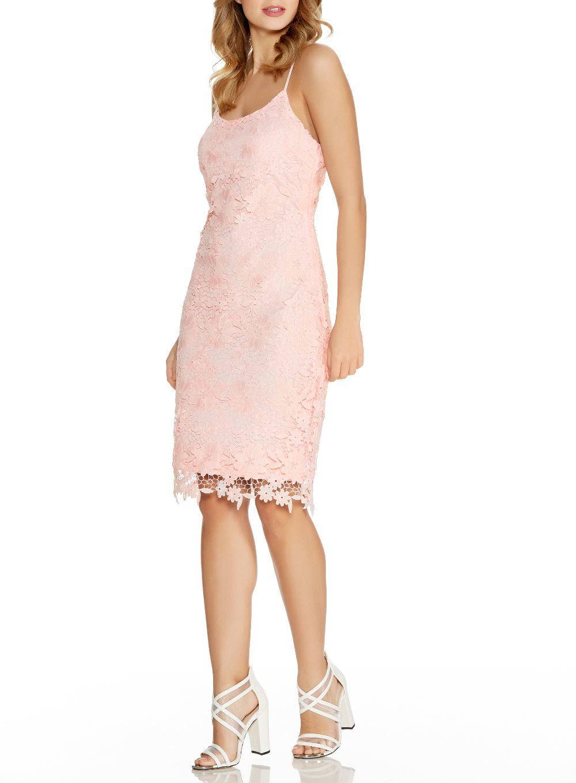 Lyst Quiz Pink Crochet Lace Strap Midi Dress In Pink