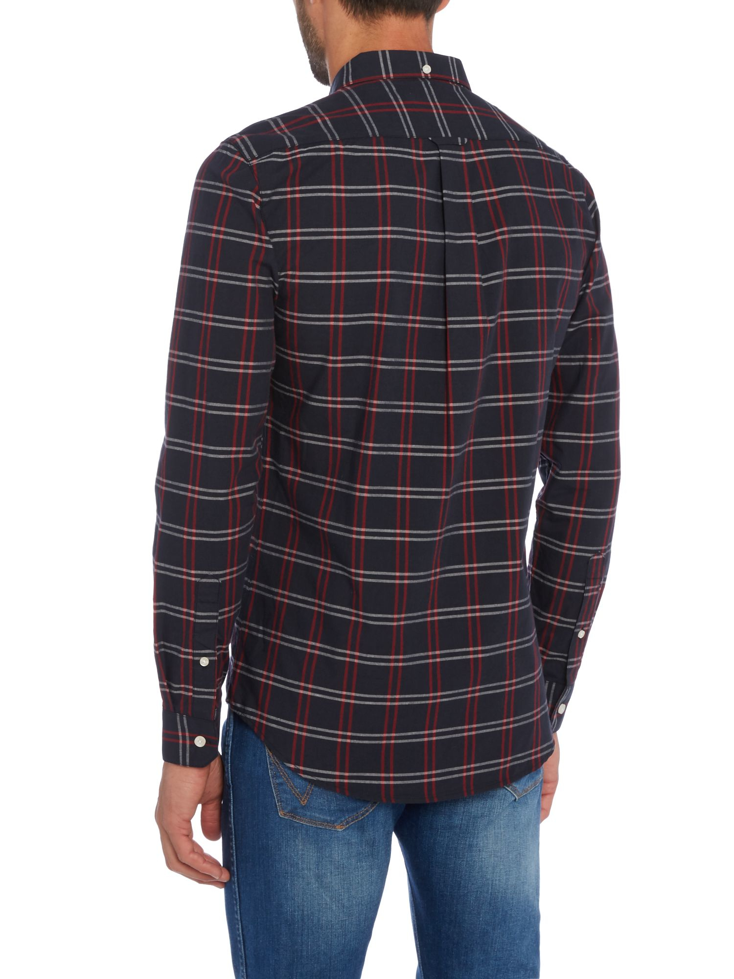 Lyst farah lynton slim fit grid check shirt in blue for men for Slim fit check shirt