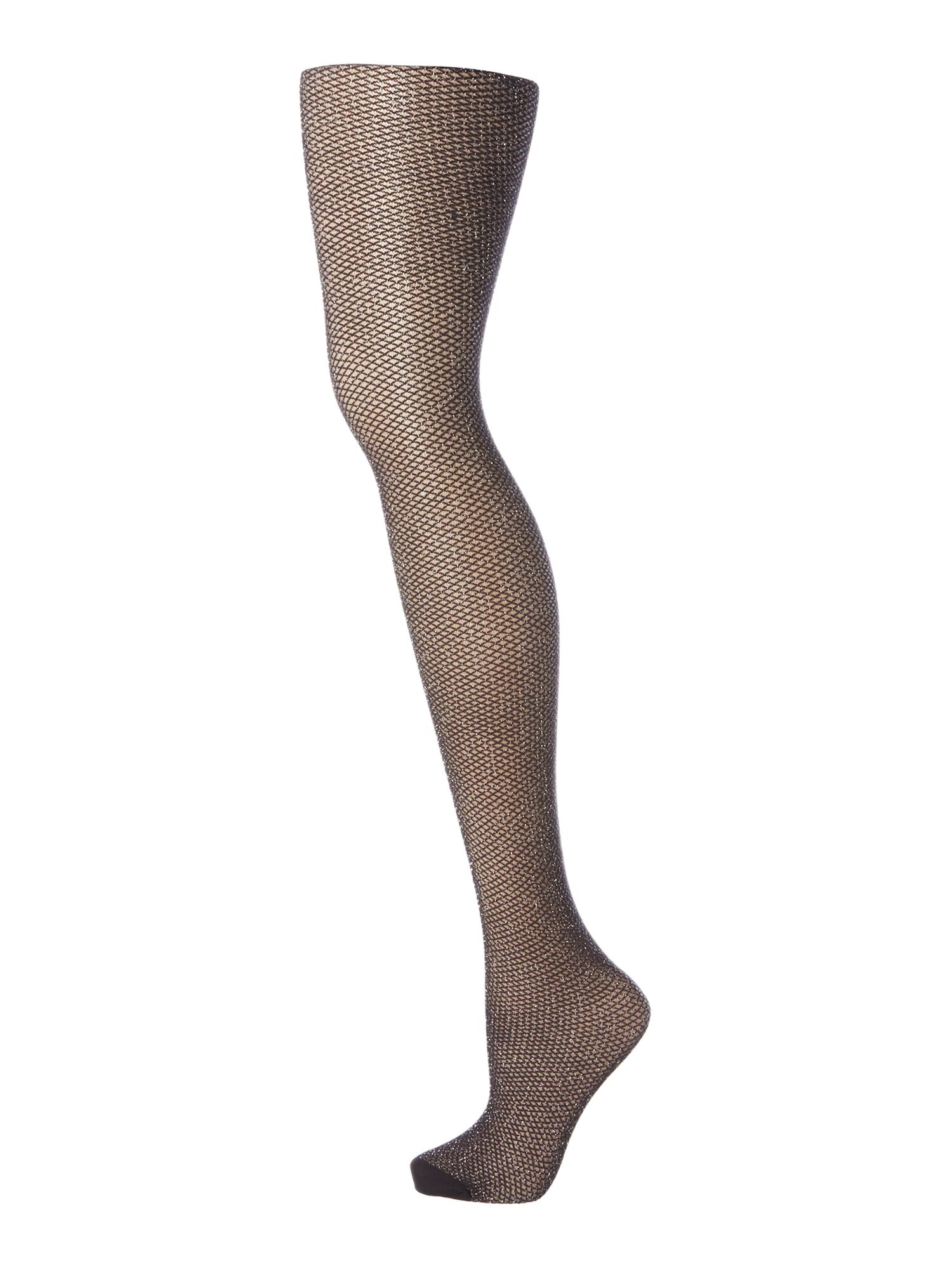 Charnos black mock lurex fishnet tights lyst