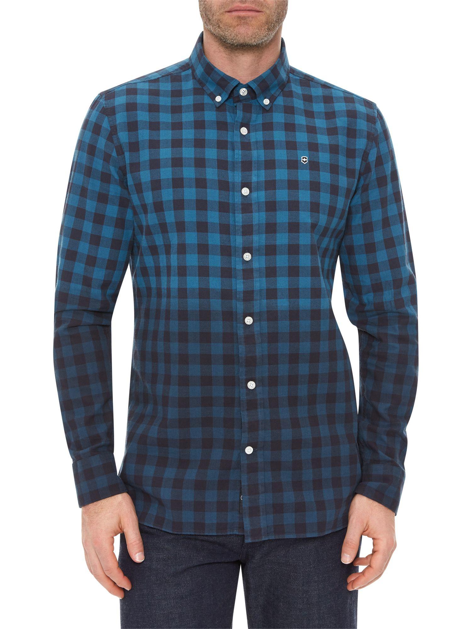 Lyst victorinox check dip dye shirt in blue for men for Mens dip dye shirt