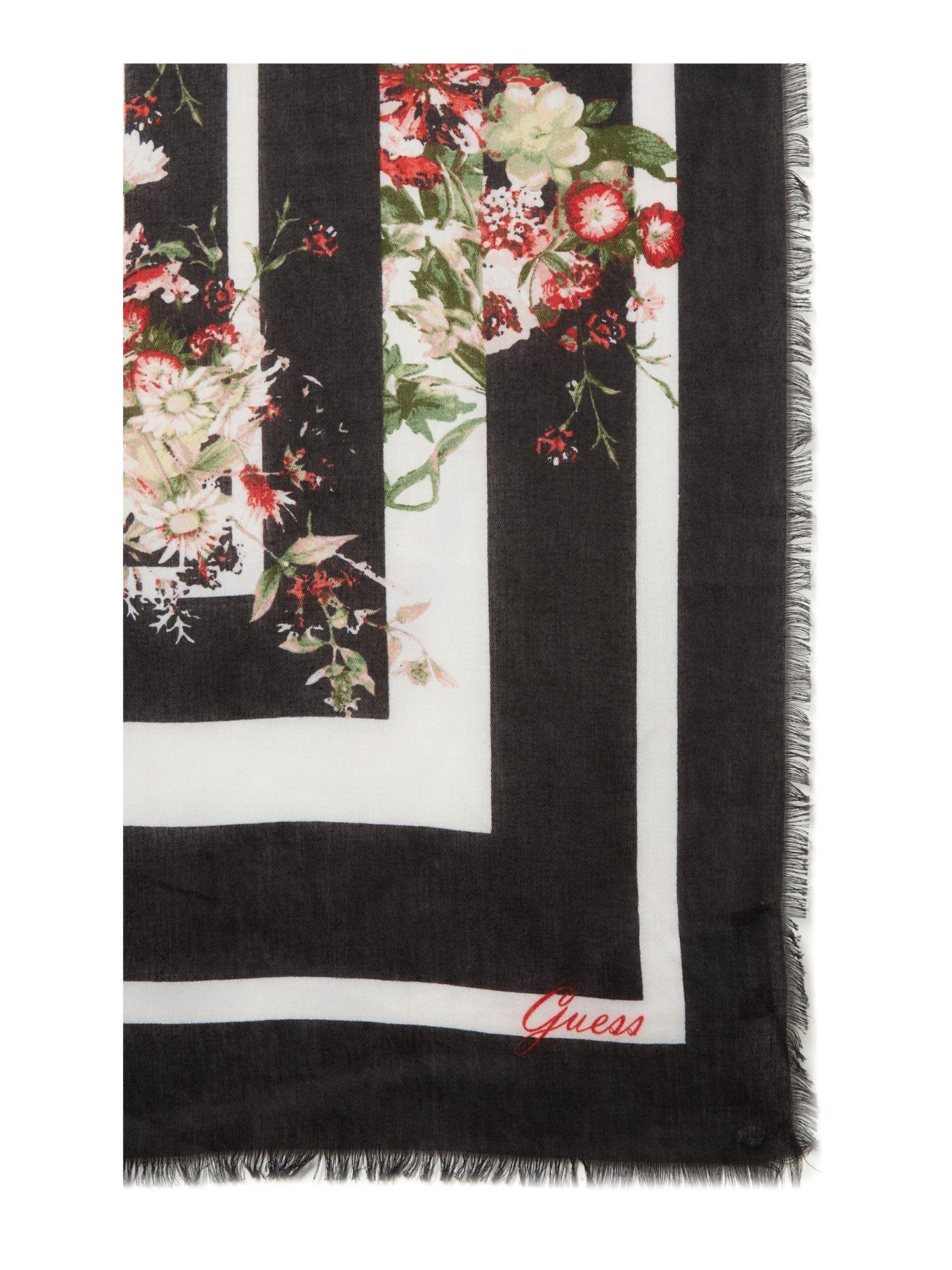 399a4847d9d Guess Large Floral And Leopard Print Scarf in Black - Lyst