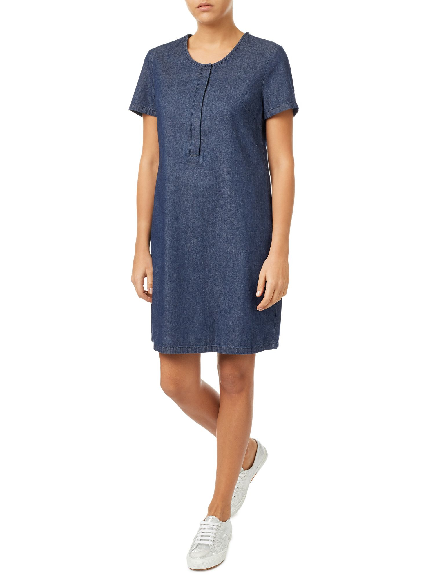 Unique Philosophy Womens Tencel Tunic Roll Tab Sleeve Button Fashion Denim Shirt Dress   EBay