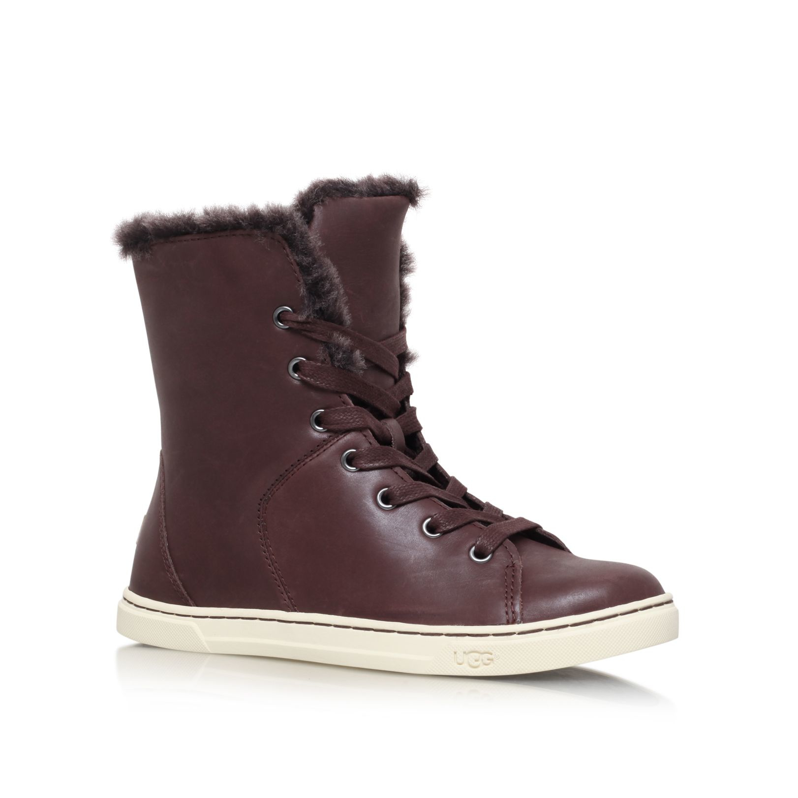 Ugg 174 Croft Luxe Quilt Burnished Leather Lace Up Sneakers