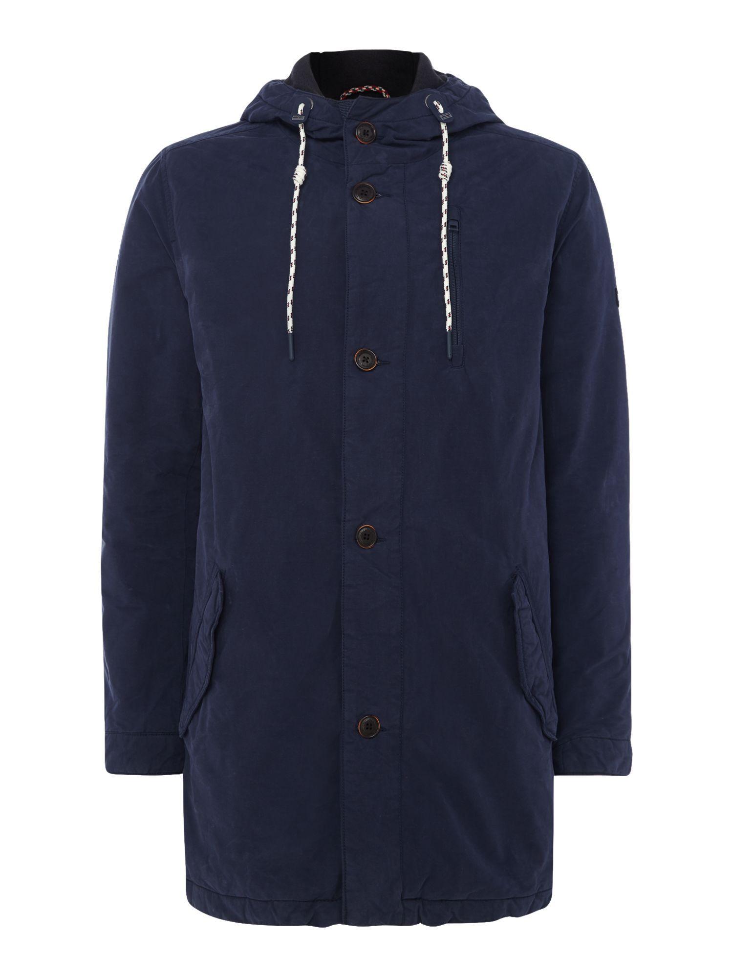 lyst tommy hilfiger coated parka jacket in blue for men. Black Bedroom Furniture Sets. Home Design Ideas