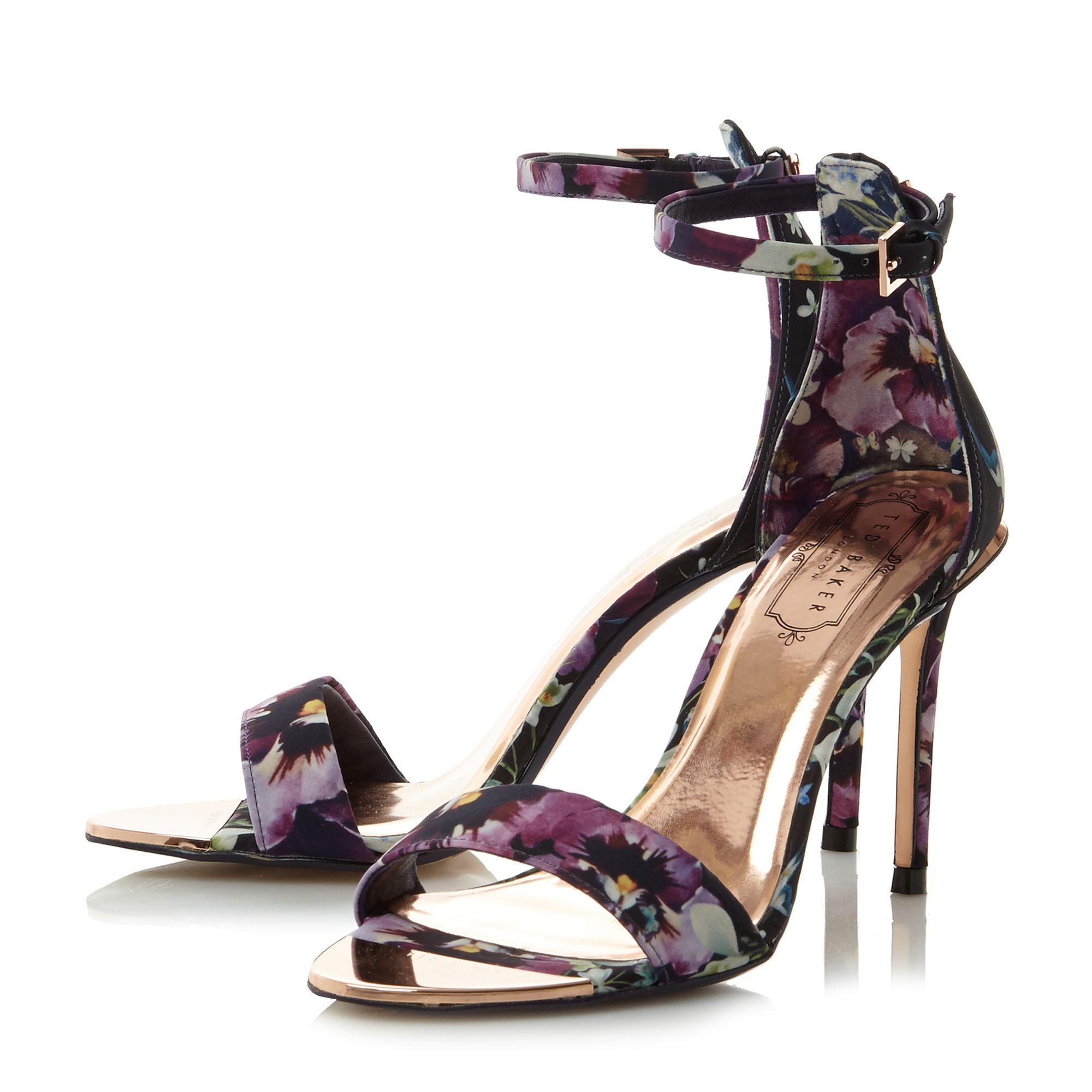 ted baker charv floral 2 part sandal in purple lyst. Black Bedroom Furniture Sets. Home Design Ideas