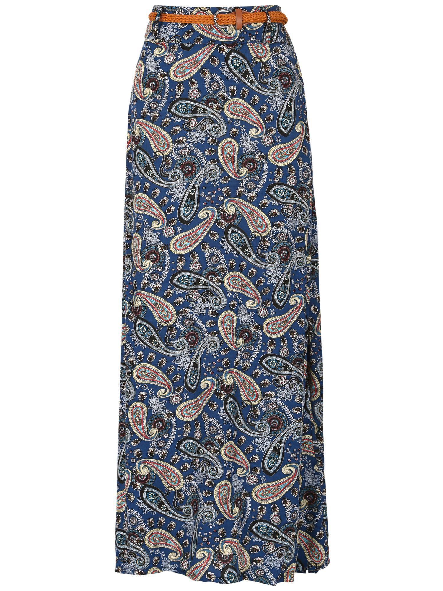 izabel paisley print skirt in blue lyst