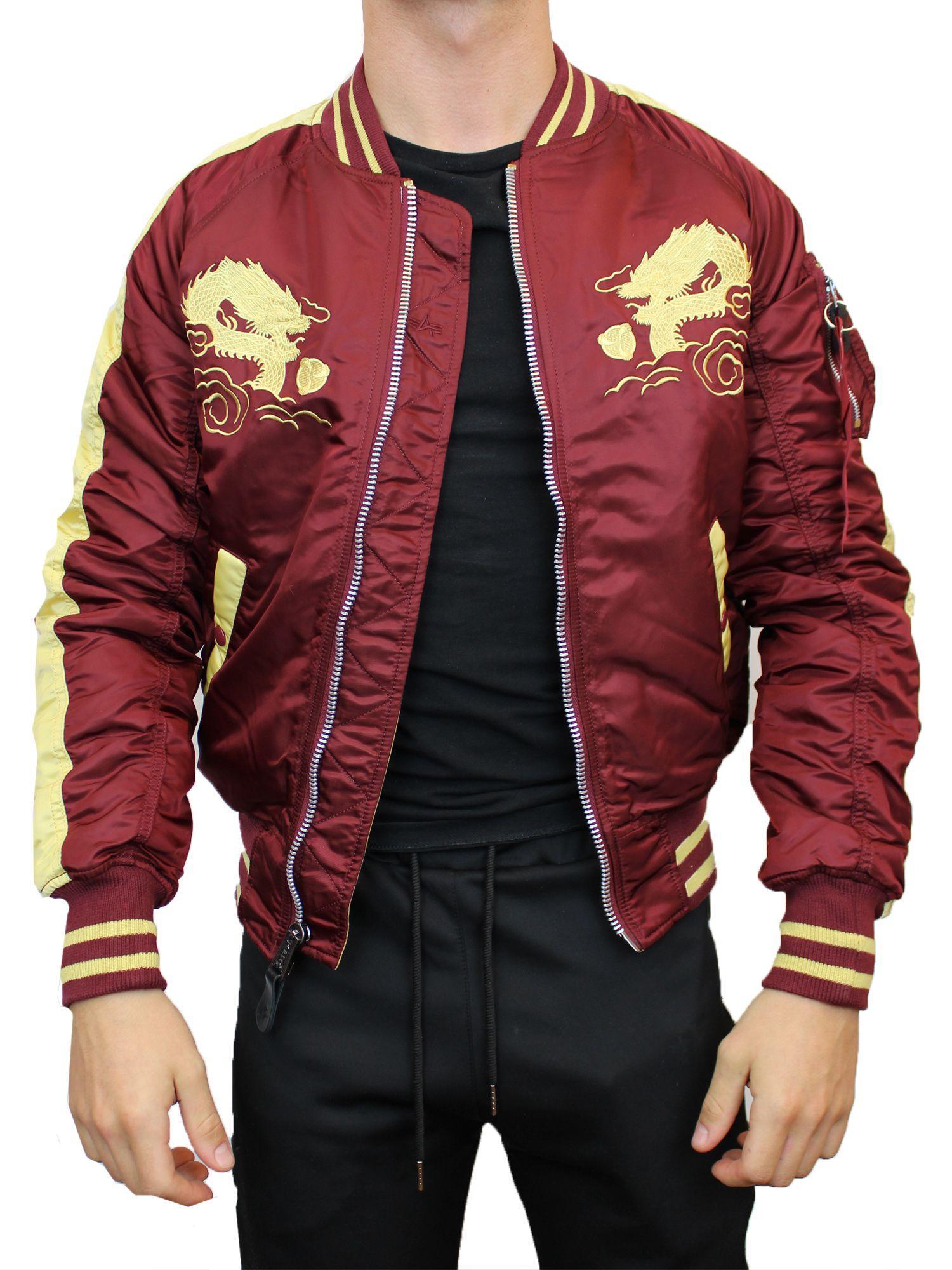 lyst alpha industries japan dragon bomber jacket in red. Black Bedroom Furniture Sets. Home Design Ideas