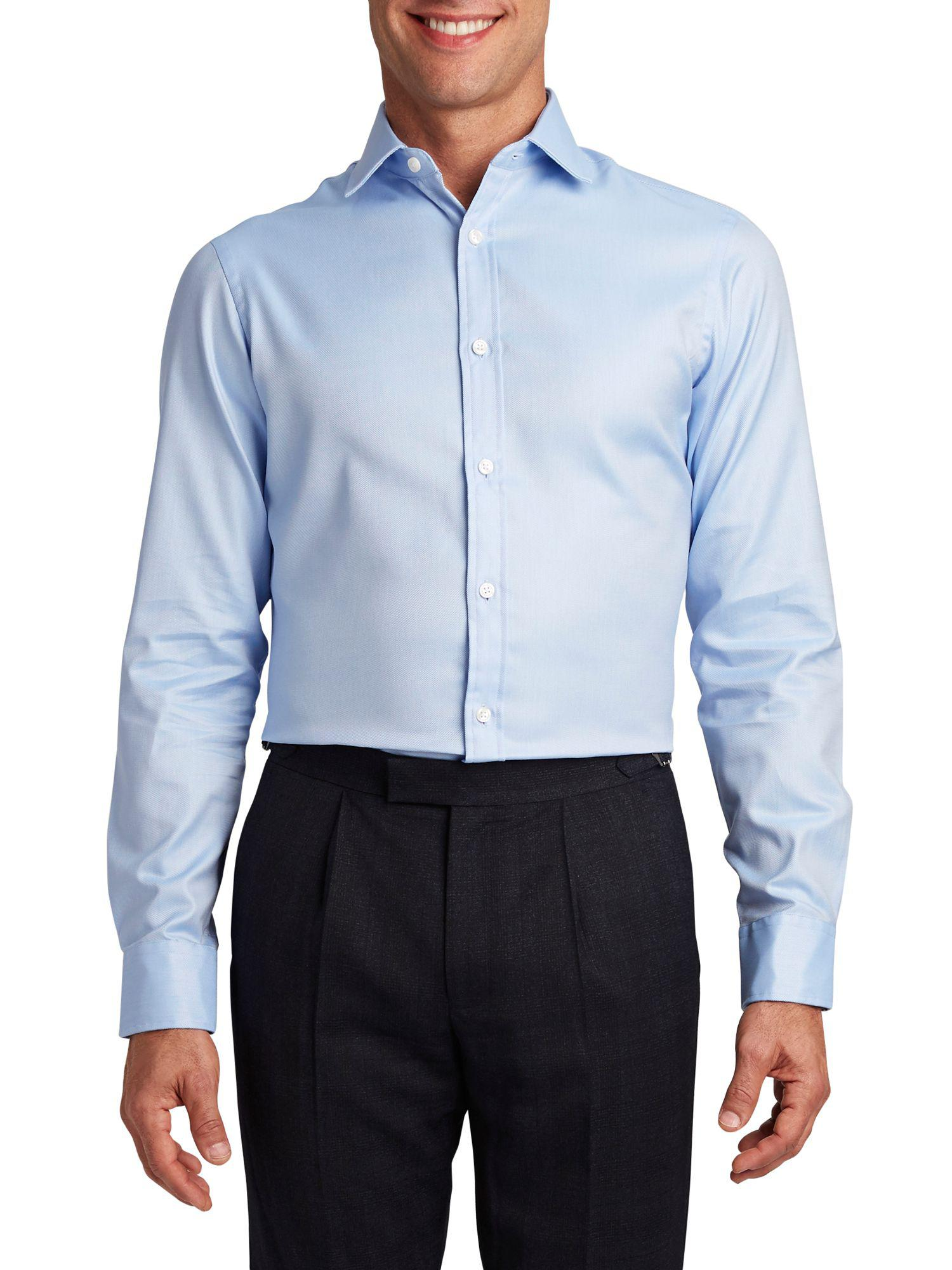 T.M.Lewin White Twill Fitted Double Cuff Shirt