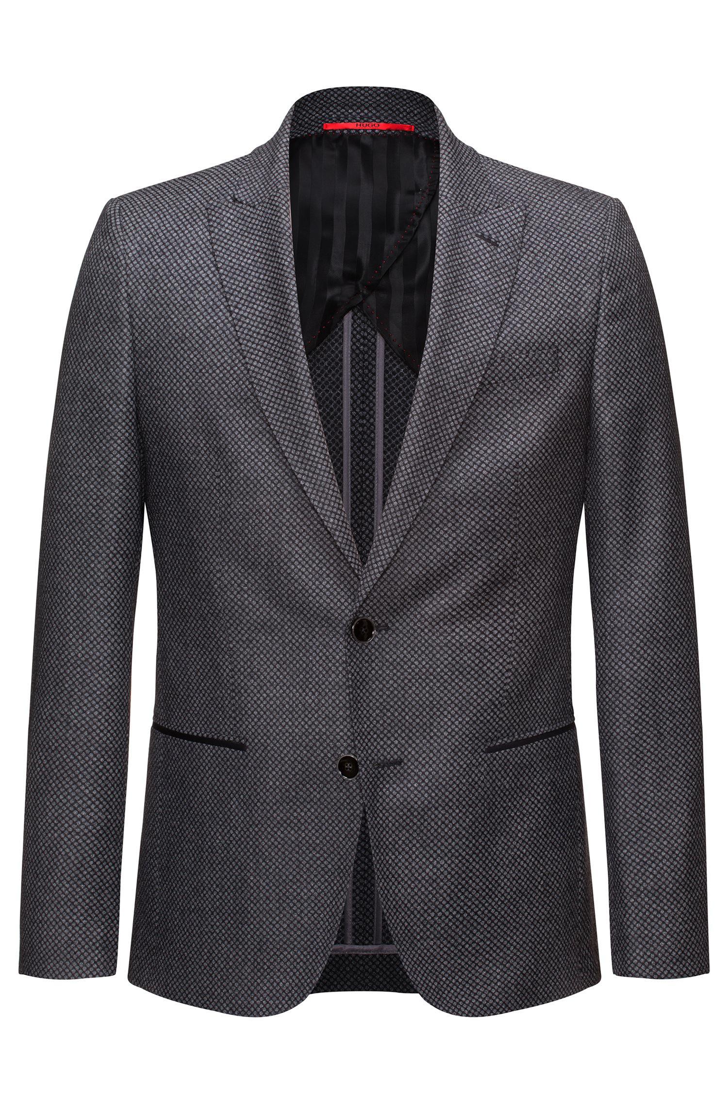 Hugo Slim-fit Half-lined Jacket In Virgin Wool In Grey For Men | Lyst